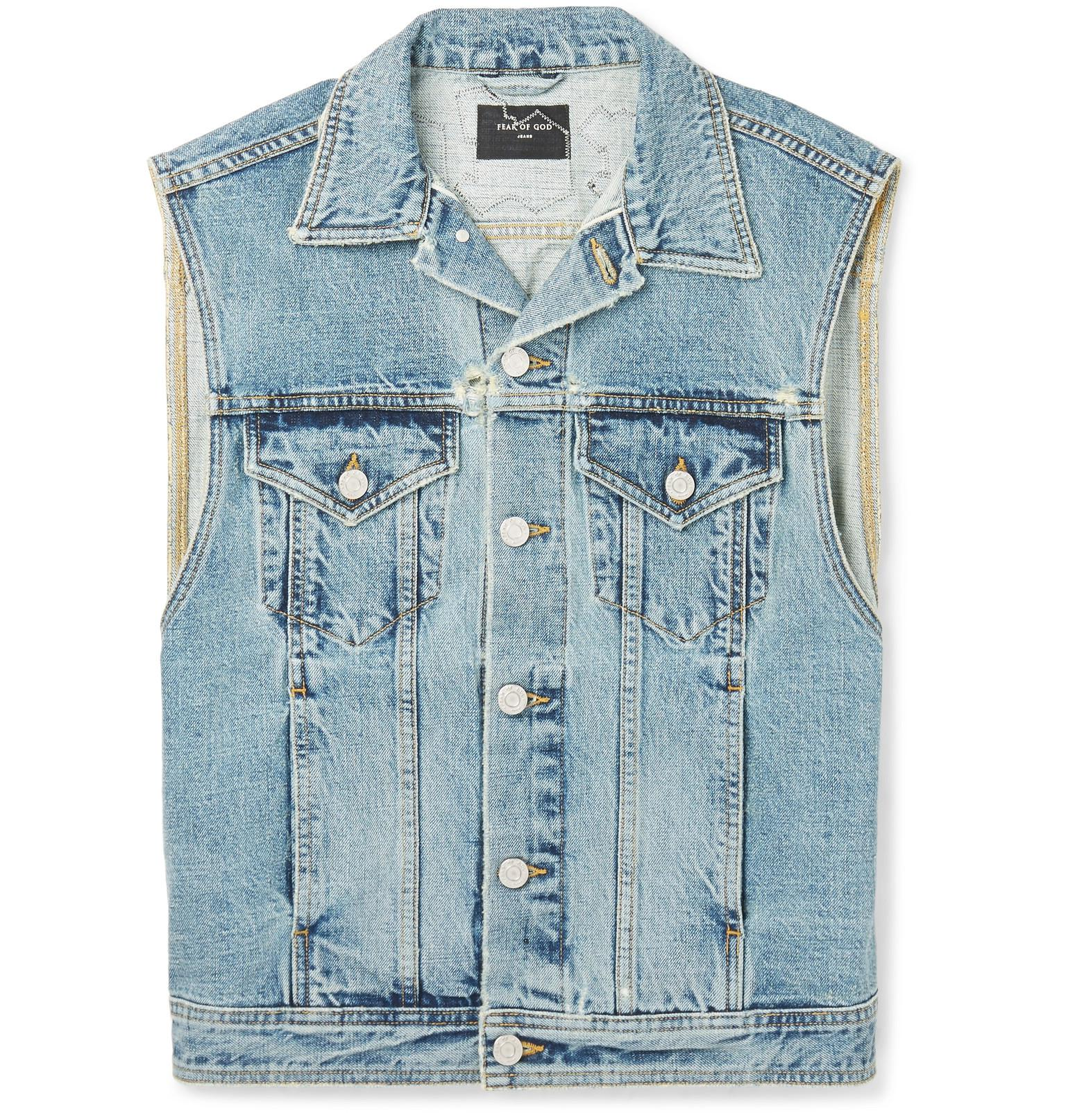 Discount For Nice Cheap Price Buy Discount Fear of God Appliquéd Denim Gilet - Indigo All Size Wiki Sale Online XDPM2zZx