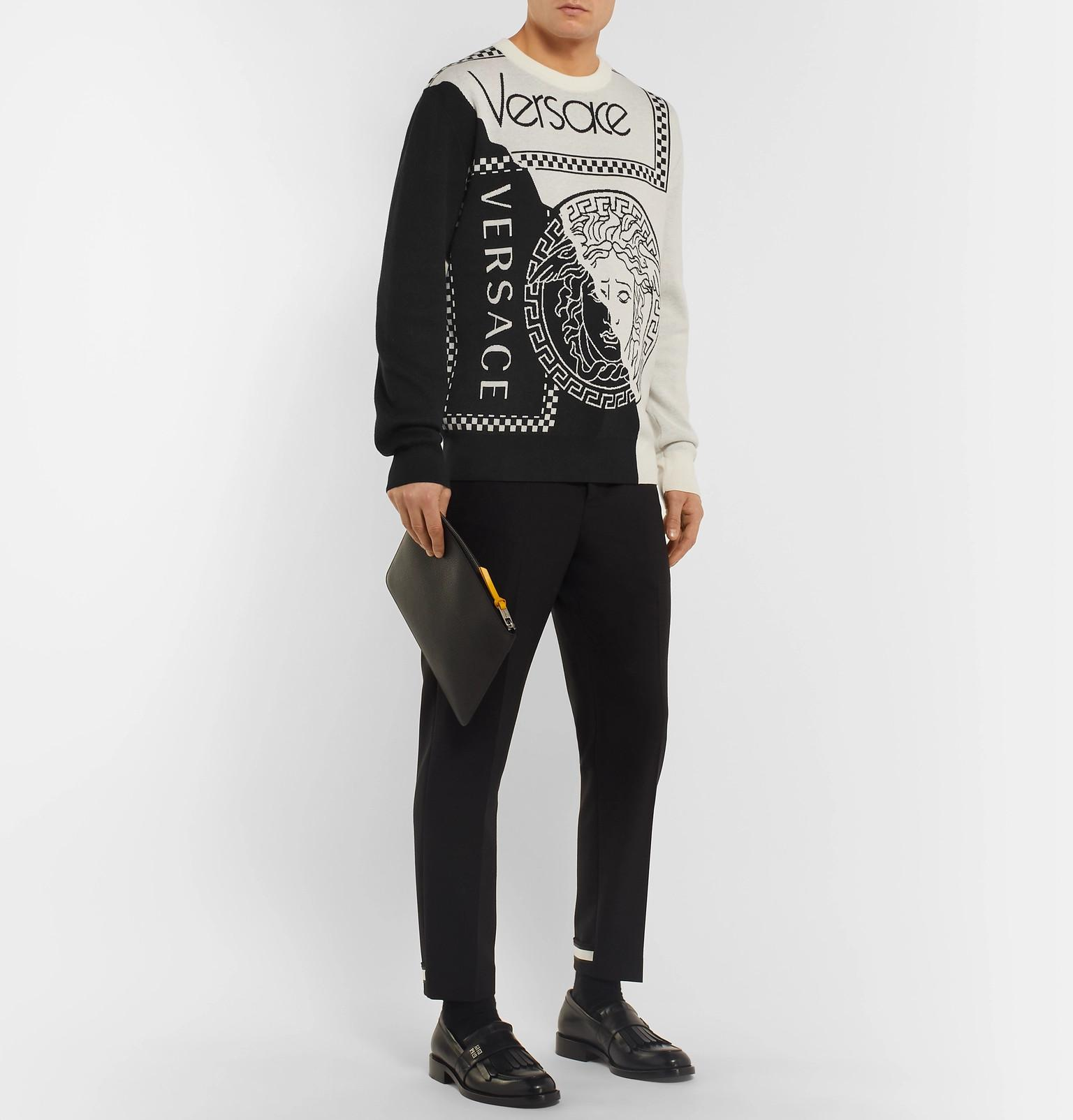 Sweater Men Blend Wool Intarsia White Logo Fullscreen Versace And View  Cotton Lyst For W6wfS0c1q a16b98a7704