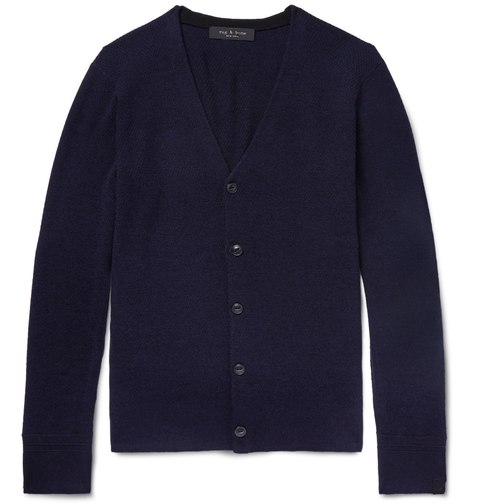 b8db4cd24bece Lyst - Rag   Bone Gregory Stretch Merino Wool-blend Cardigan in Blue ...
