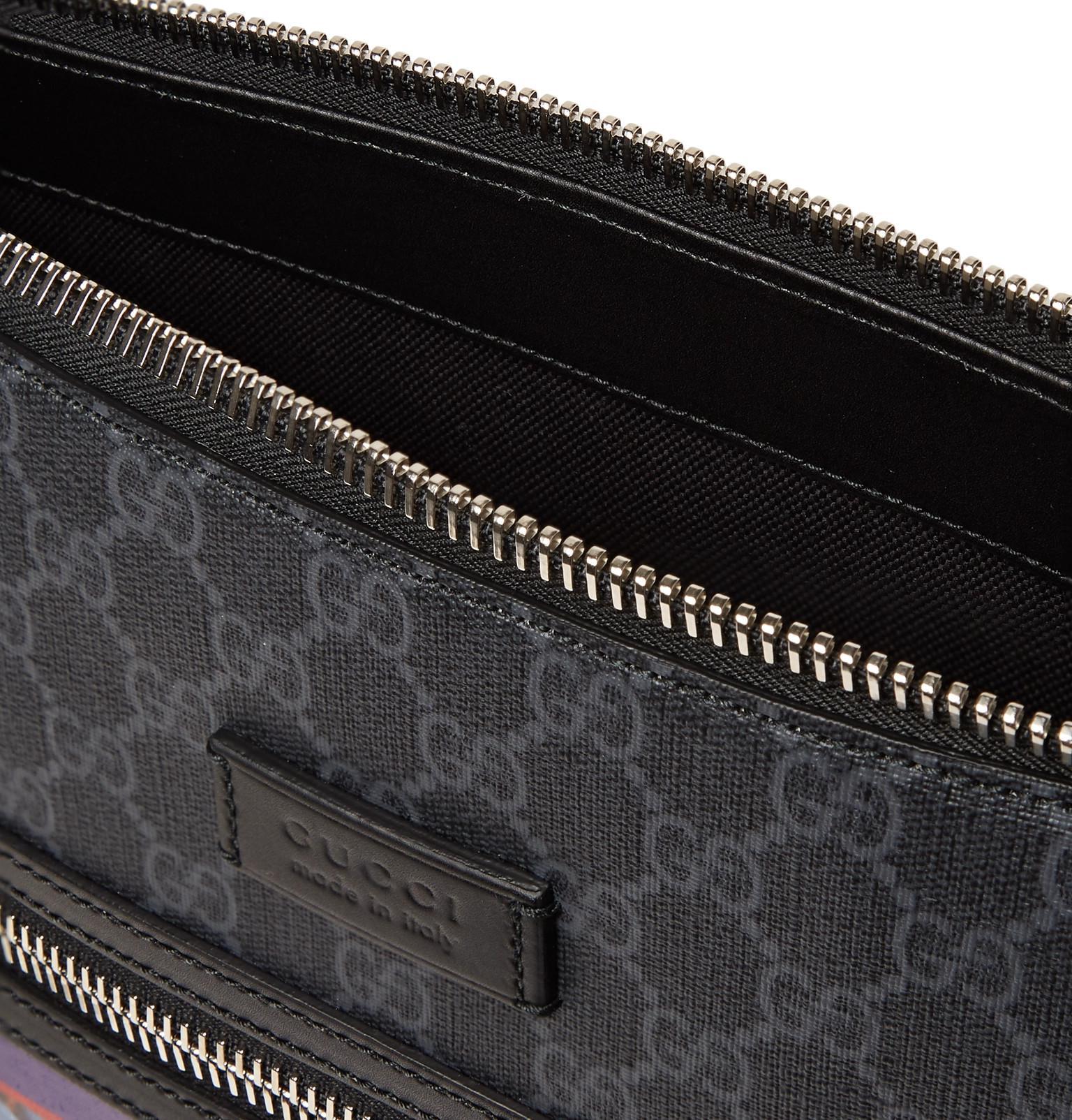 ced998688ca1 Gucci - Black Leather-trimmed Appliquéd Monogrammed Coated-canvas Messenger  Bag for Men -. View fullscreen