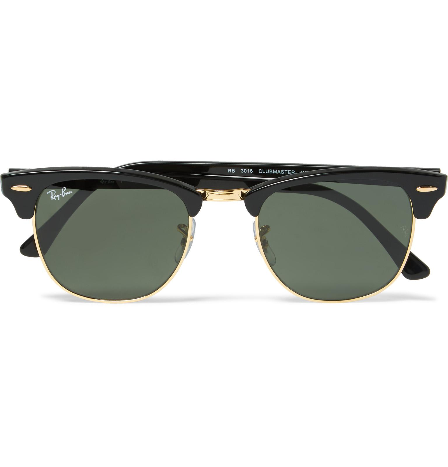 4eeda7b094971 Lyst - Ray-Ban Clubmaster Square-frame Acetate And Gold-tone ...