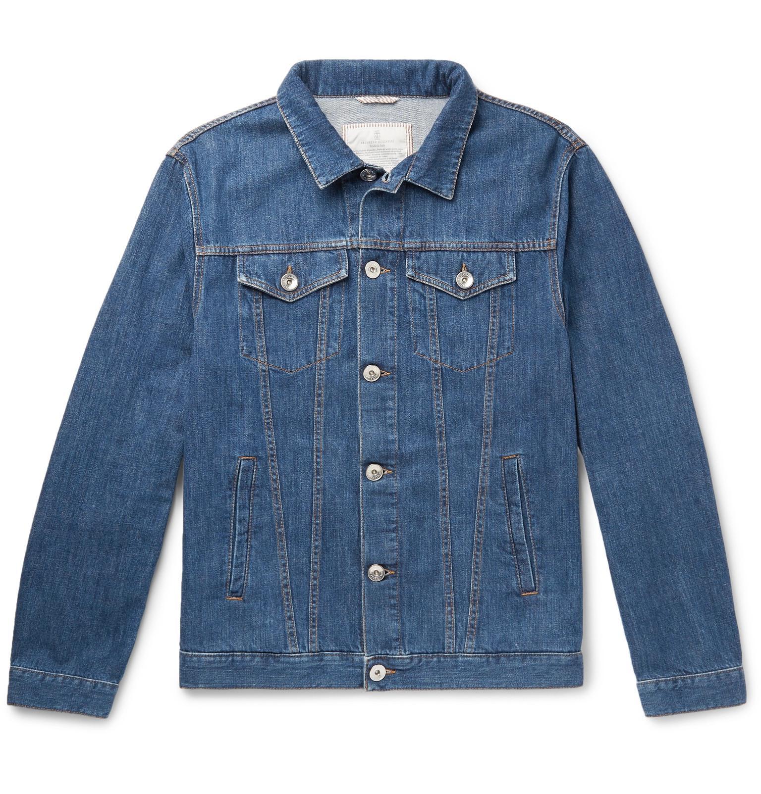 Cucinelli Denim Jacket Blue Stretch Brunello Men's Rwd14q8q