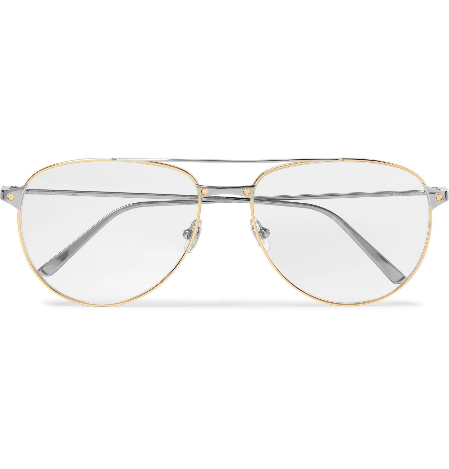 3dee15b309e4 Cartier Santos De Cartier Aviator-style Gold And Silver-tone Glasses ...
