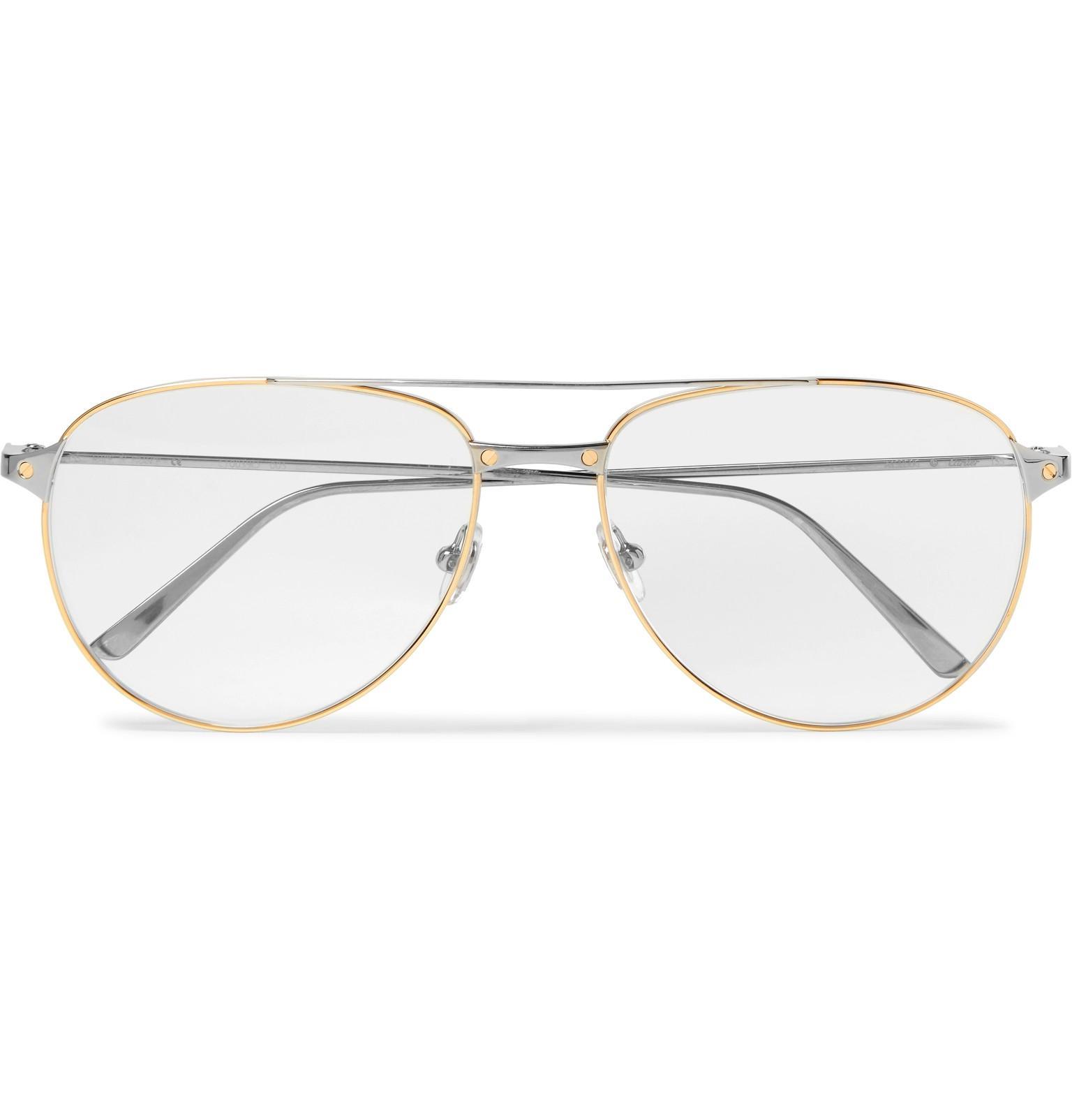 0cacf339ea8 Cartier Santos De Cartier Aviator-style Gold And Silver-tone Glasses ...