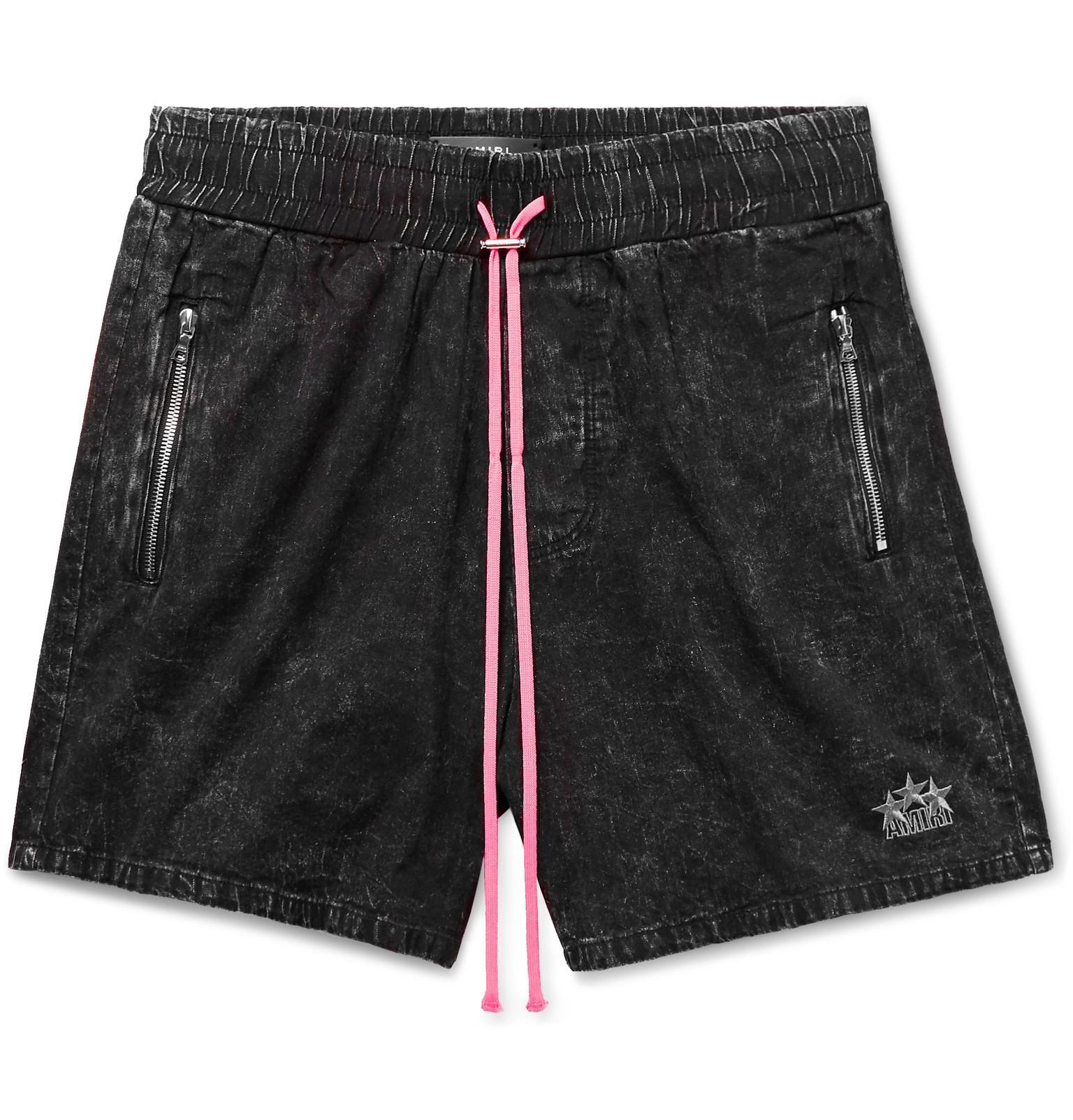 f090f19a3a Lyst - Amiri Wide-leg Acid-wash Denim Drawstring Shorts in Black for Men