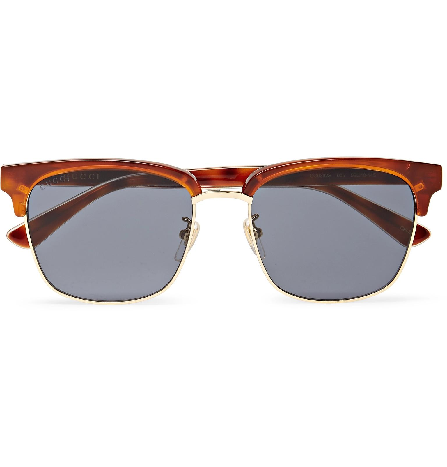 fb1fadeccac Lyst - Gucci Square-frame Acetate And Gold-tone Sunglasses for Men