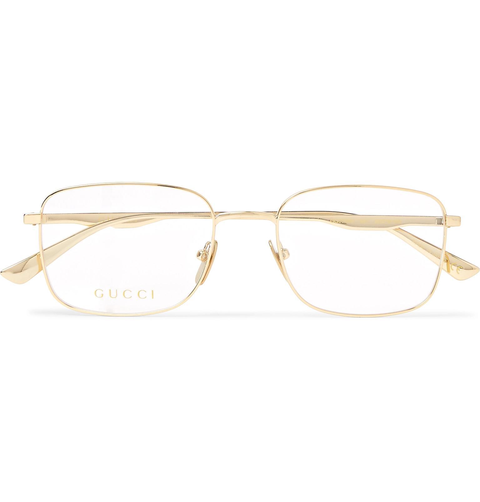 d353b475d1a4b Gucci Square-frame Gold-tone Optical Glasses in Metallic for Men - Lyst