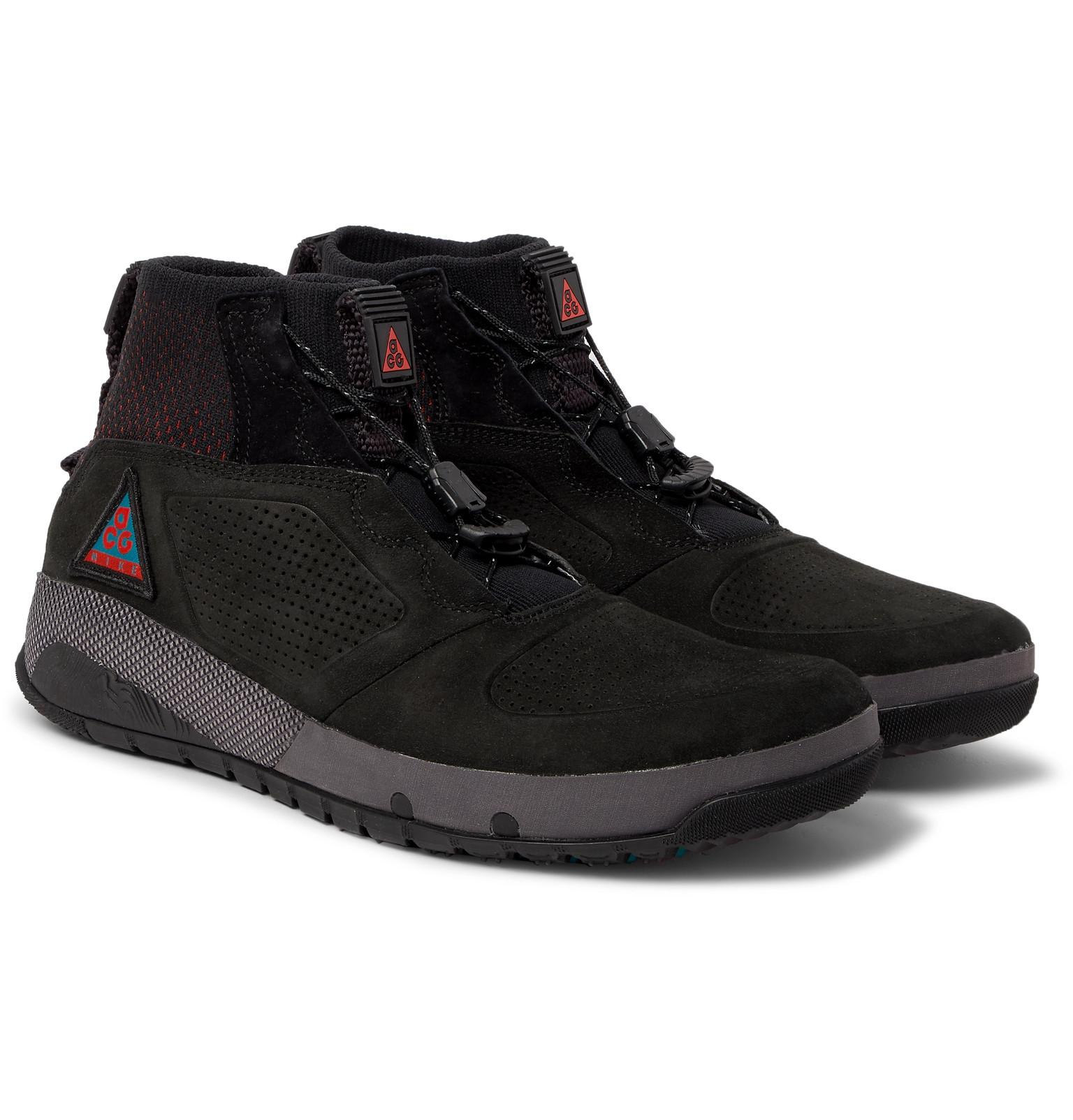 e07b5186003e Lyst - Nike Acg Ruckel Ridge Perforated Suede And Flyknit Sneakers ...