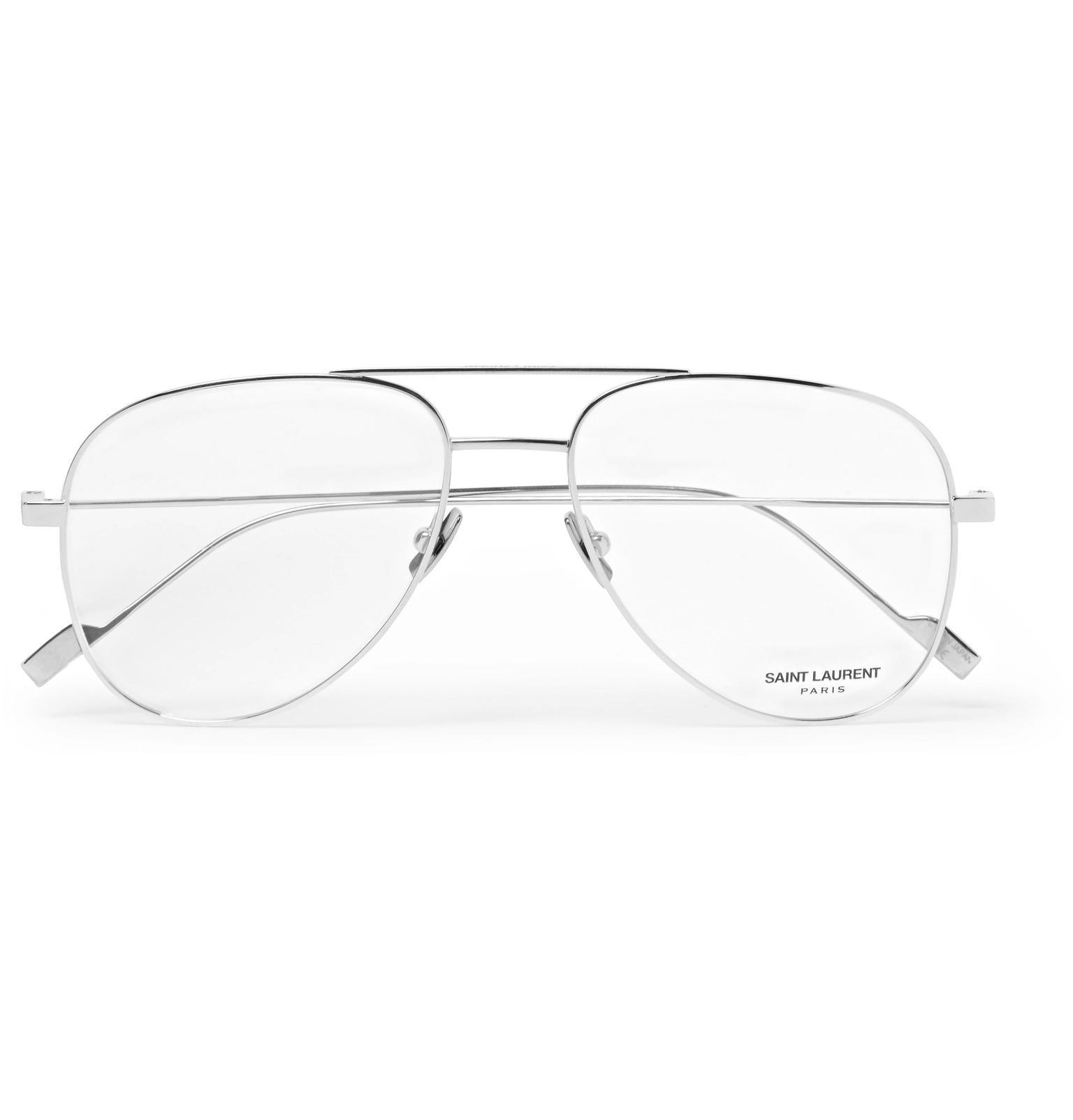 353203f37e Lyst - Saint Laurent Aviator-style Titanium Optical Glasses for Men