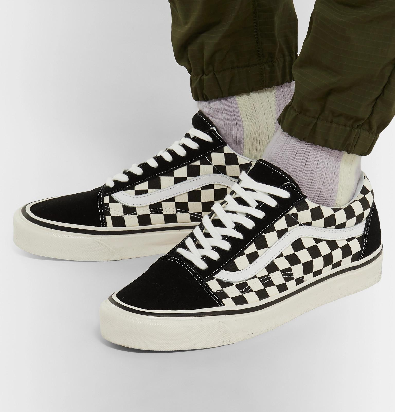 333a0497d88 Vans - Black Anaheim Factory Old Skool 36 Dx Leather-trimmed Checkerboard  Canvas And Suede. View fullscreen