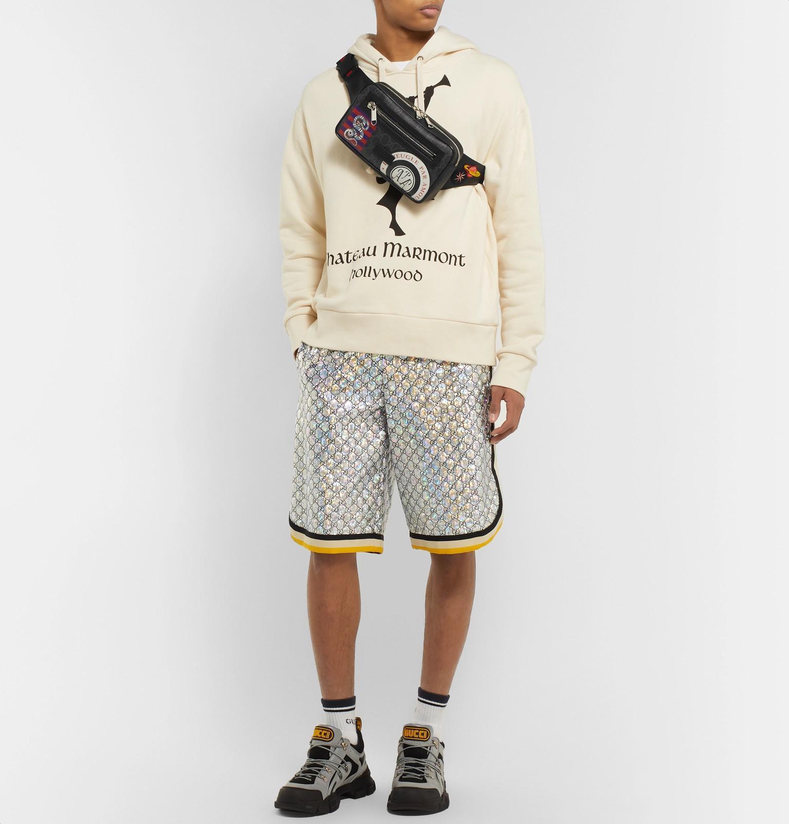 73e5d00fe Gucci - Black Appliquéd Leather-trimmed Monogrammed Coated-canvas Belt Bag  for Men -. View fullscreen