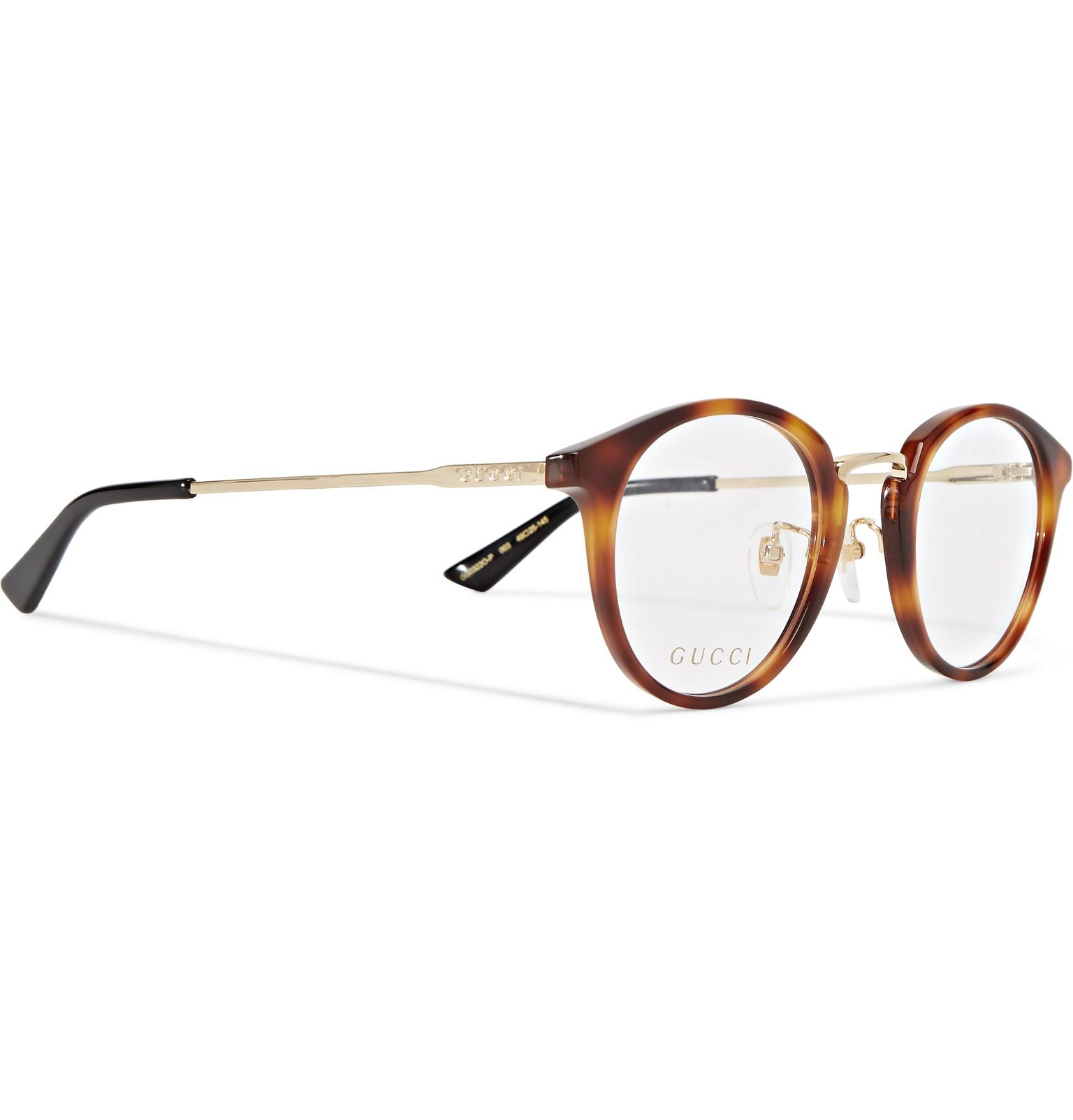 de756080eac Gucci Round-frame Tortoiseshell Acetate And Gold-tone Optical ...