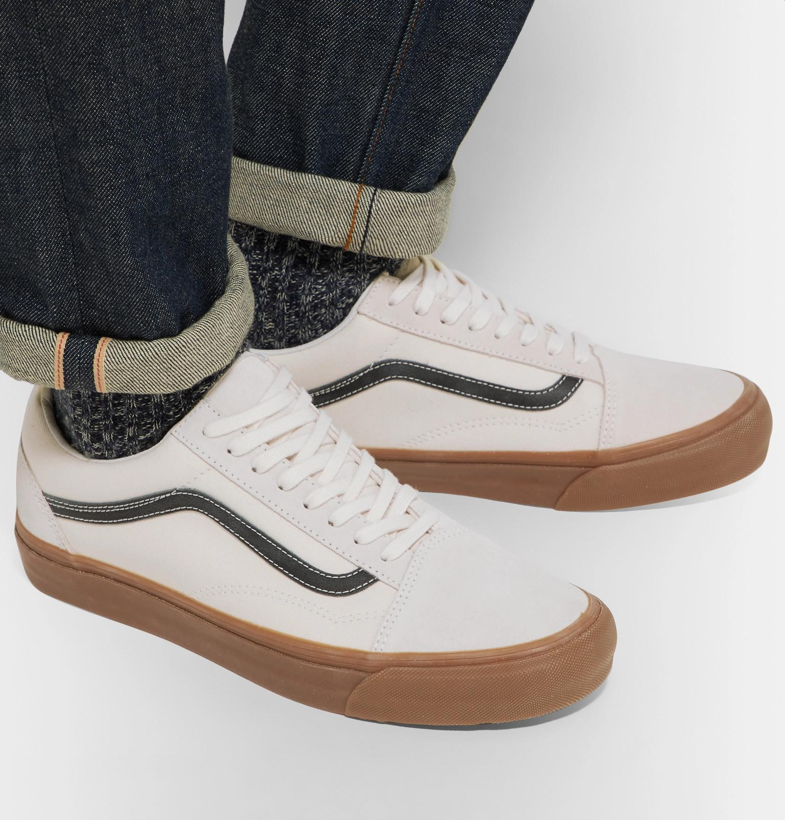 a02c81ad0d Lyst - Vans Og Old Skool Lx Leather-trimmed Canvas And Suede ...