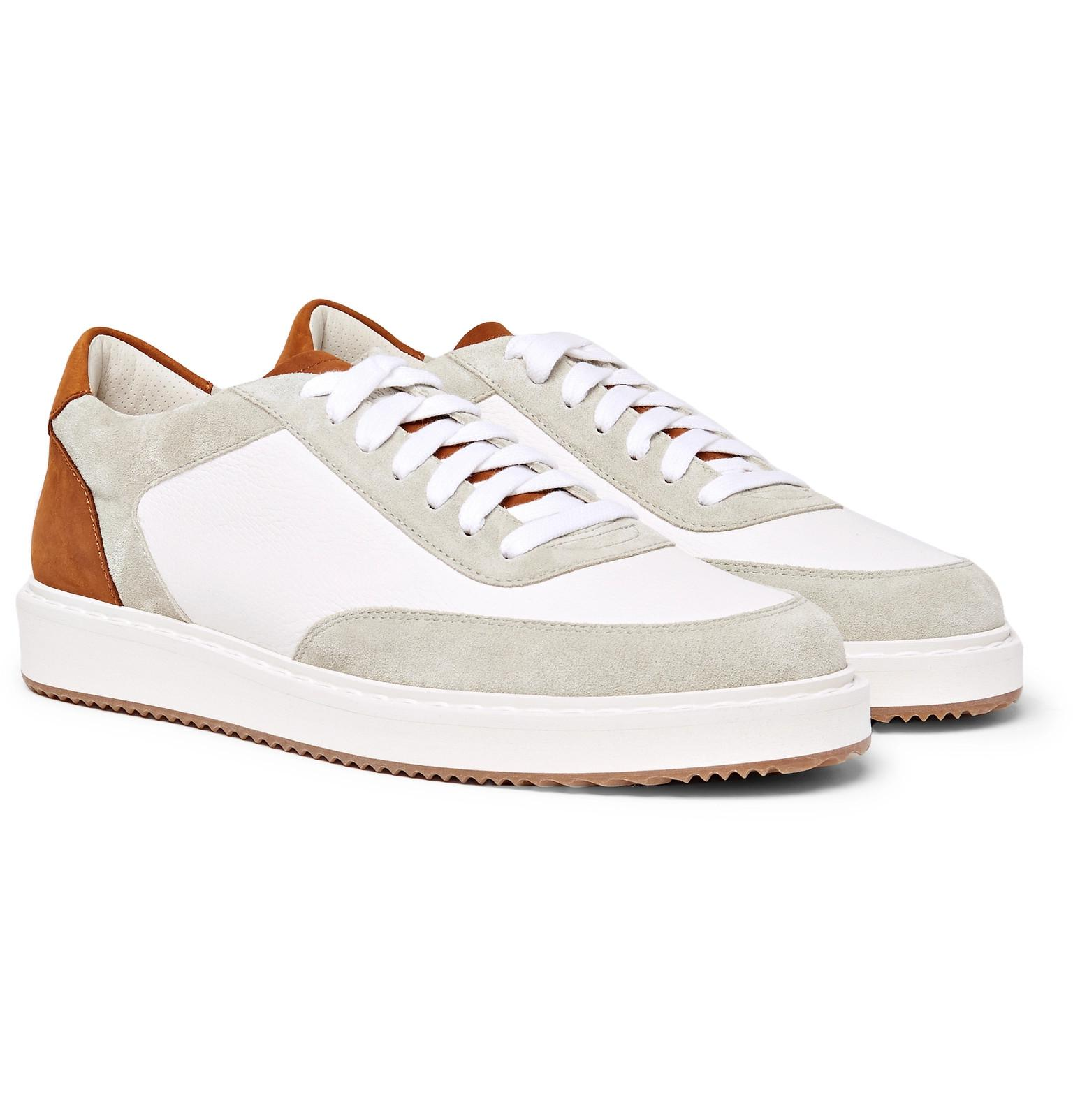 Crono Suede And Full-grain Leather Sneakers Brunello Cucinelli NYKY16Zlf9