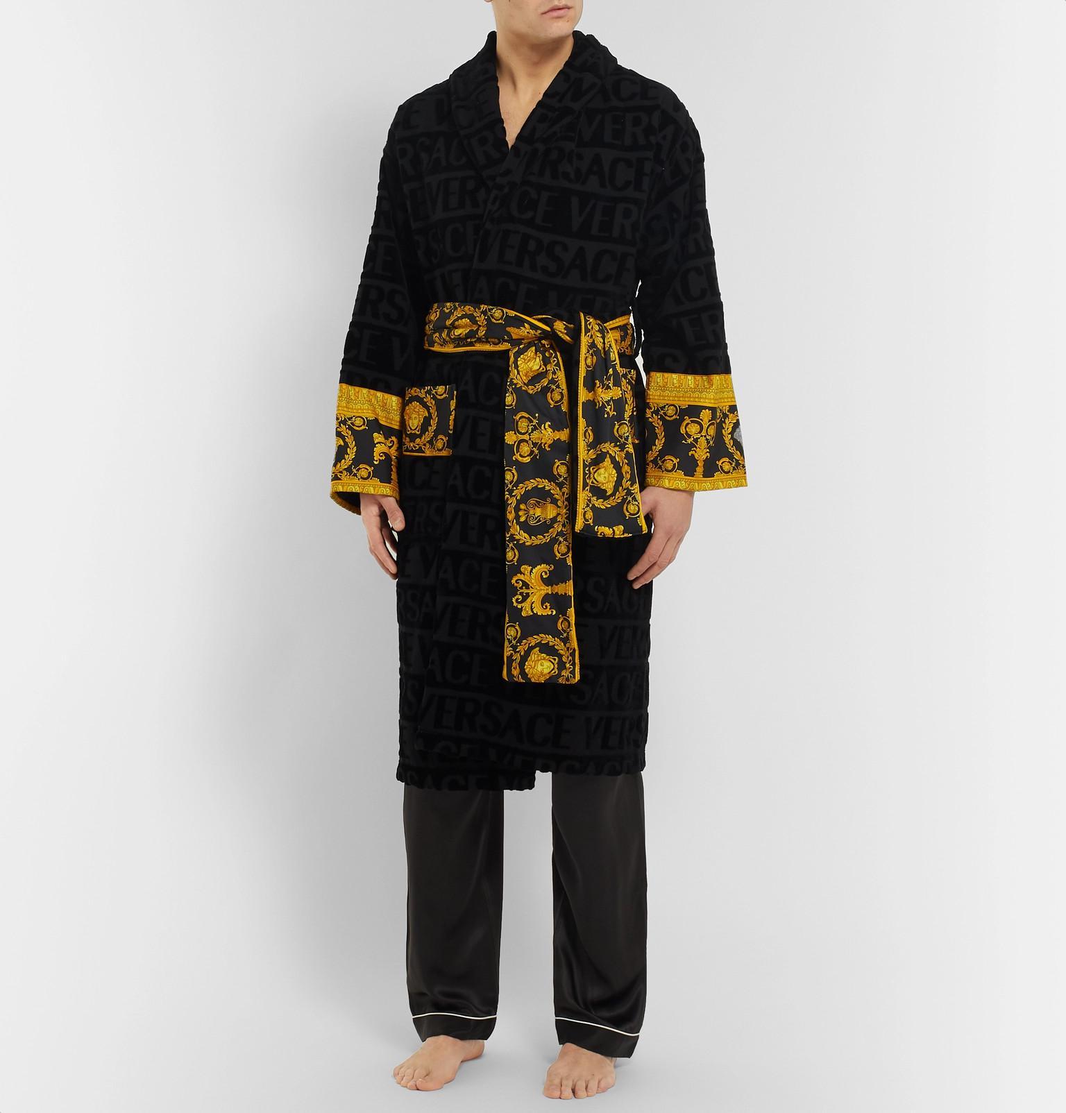 Versace - Black Poplin-panelled Logo-jacquard Cotton-terry Robe for Men -.  View fullscreen 6b490b714