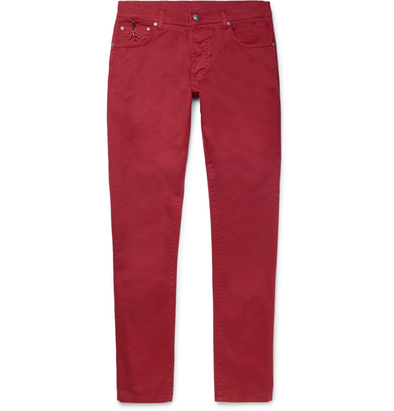 Slim-fit Stretch-cotton Twill Trousers Isaia q5xYjlR