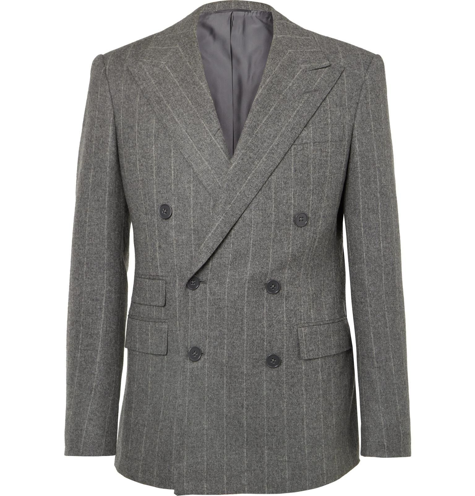 a7a054b7928f Ralph Lauren Purple Label. Men s Gray Grey Gregory Double-breasted  Pinstriped Wool Suit Jacket
