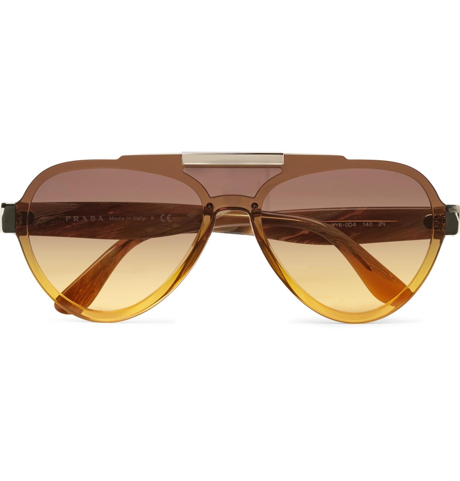 338a719b33c Lyst - Prada Aviator-style Acetate And Gold-tone Sunglasses in Brown ...