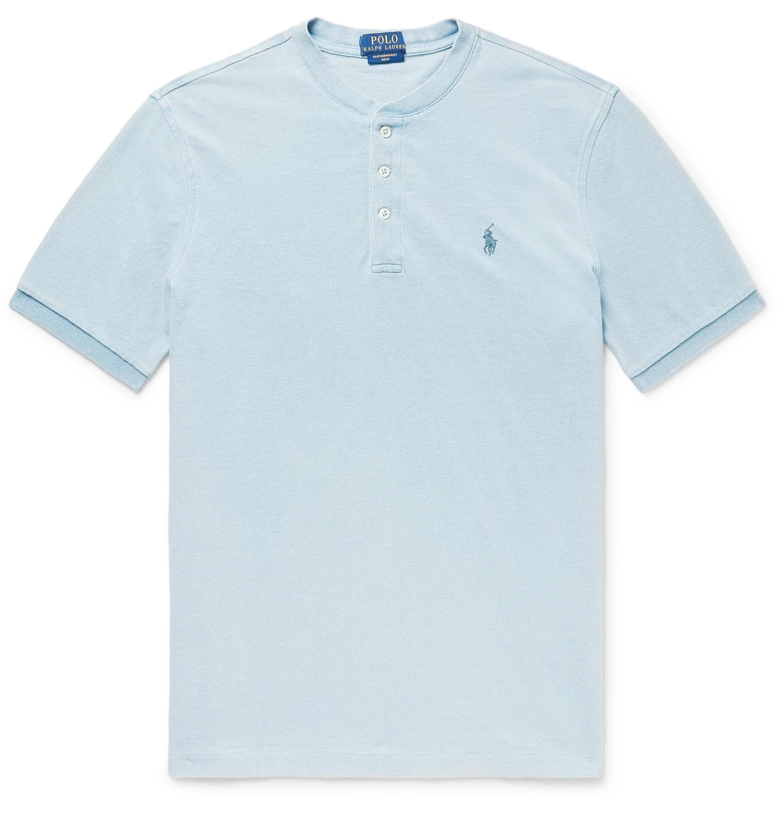 Cheap Sale Cheapest Indigo-dyed Mélange Cotton-piqué Henley T-shirt Polo Ralph Lauren Official Site Cheap Price Best Prices Cheap Online zxFWFtsU