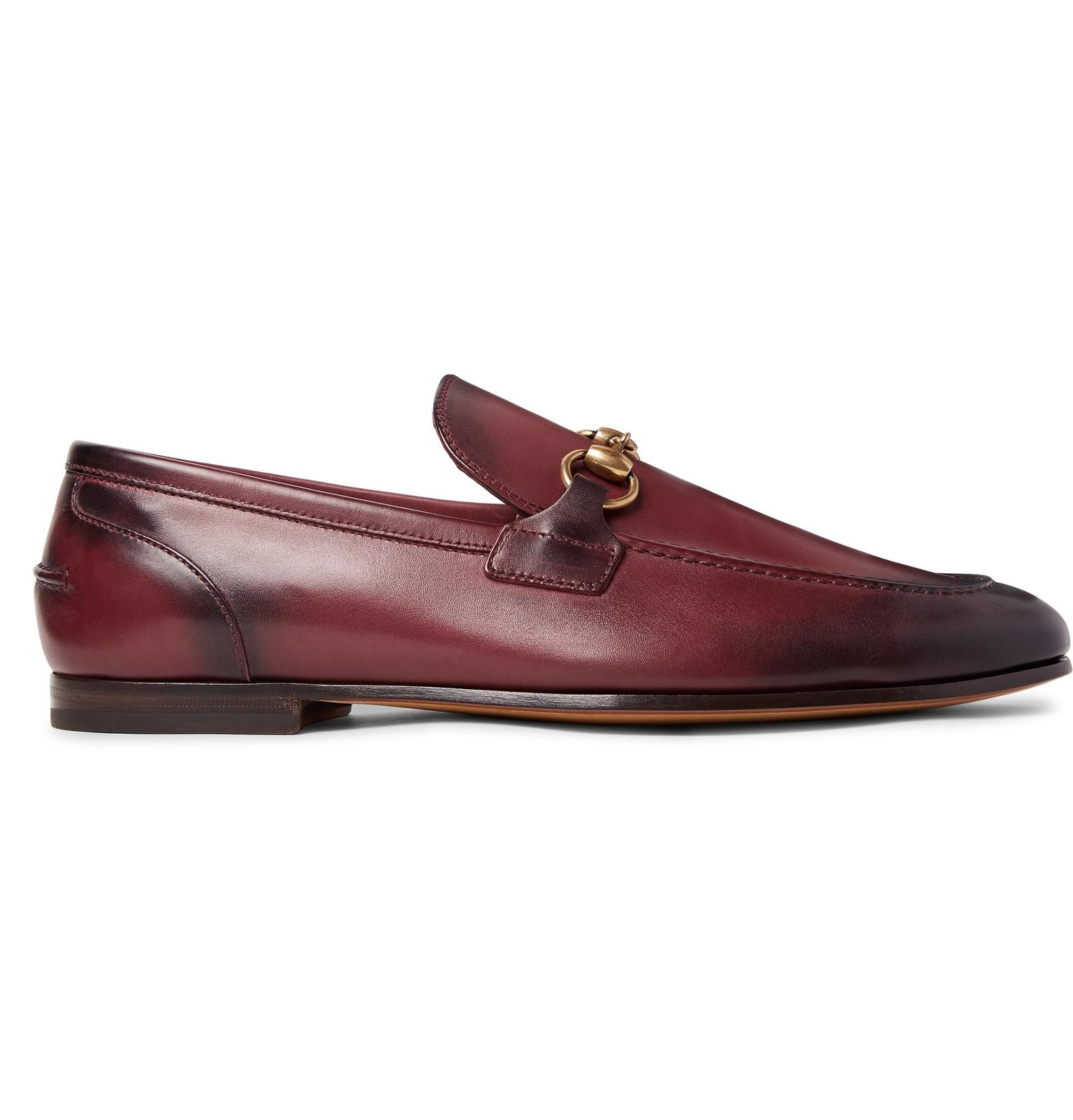 7ec5798d5cf Lyst - Gucci Horsebit Burnished-leather Loafers in Red for Men