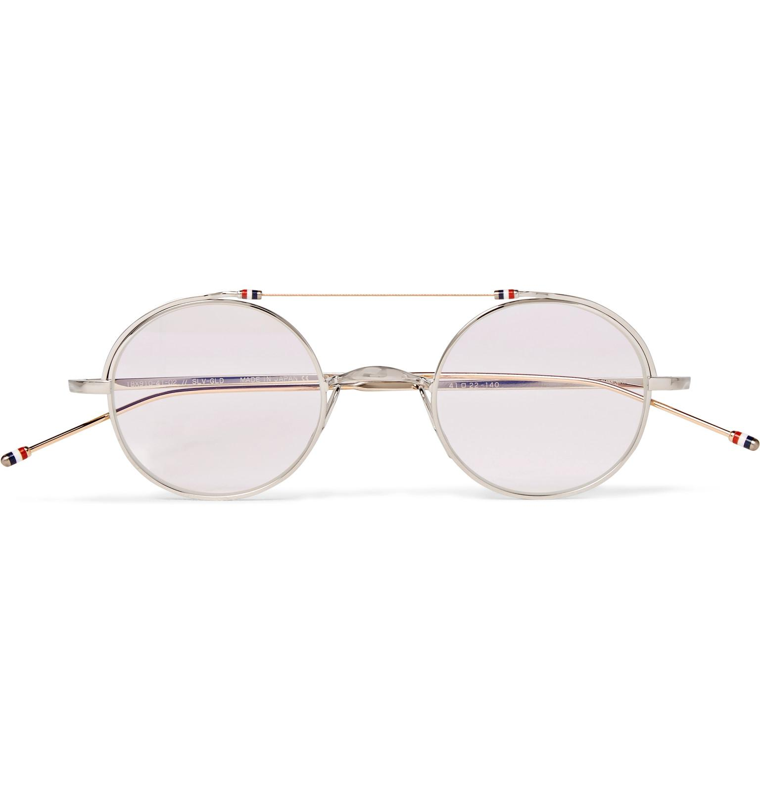 6e6e1d52a9f1 Thom Browne. Men s Metallic Round-frame Gold And Silver-tone Optical Glasses