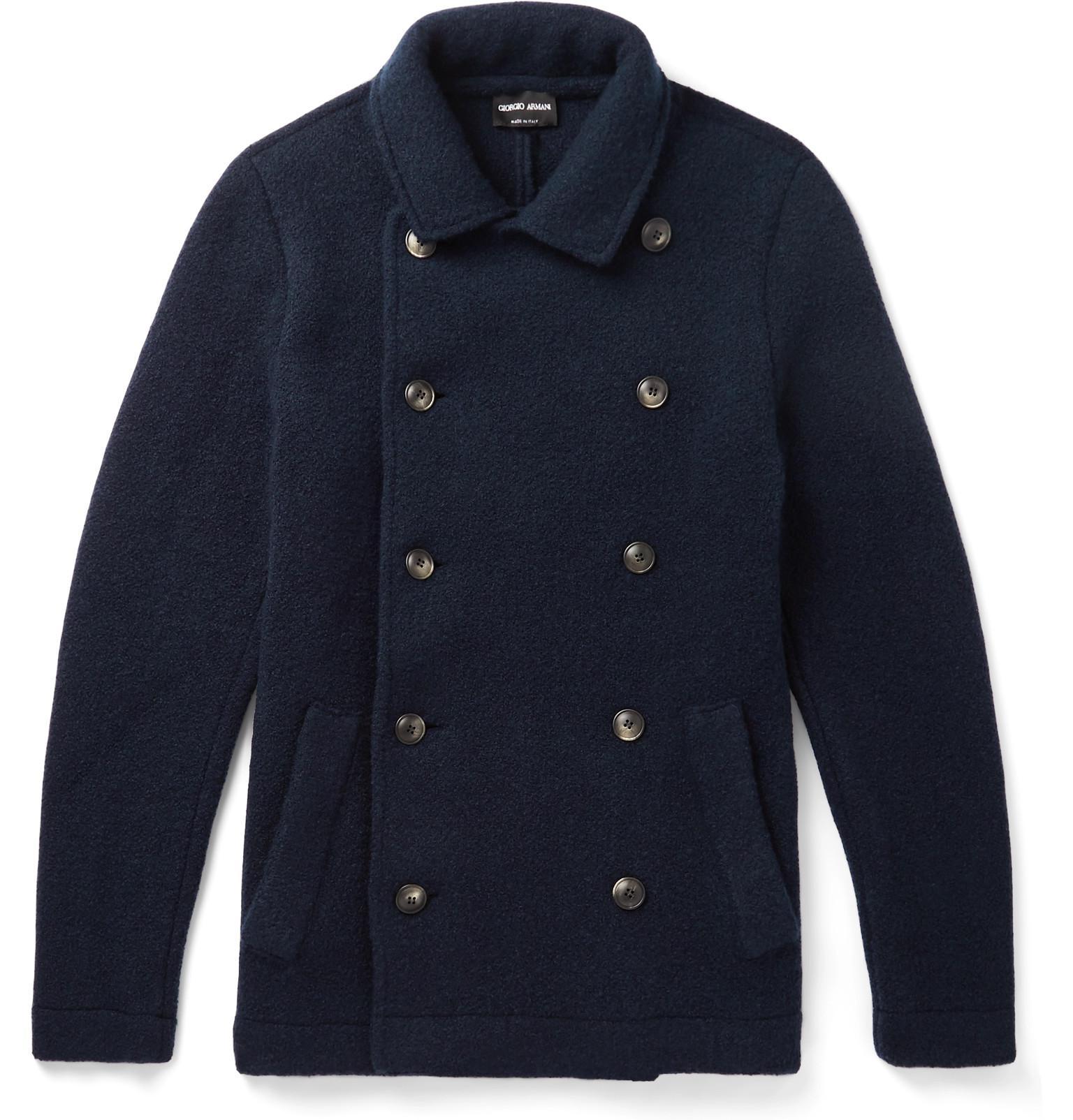 Giorgio Men's Armani Double Cashmere Slim Fit Blue Blend Coat Breasted qqFUrw5B