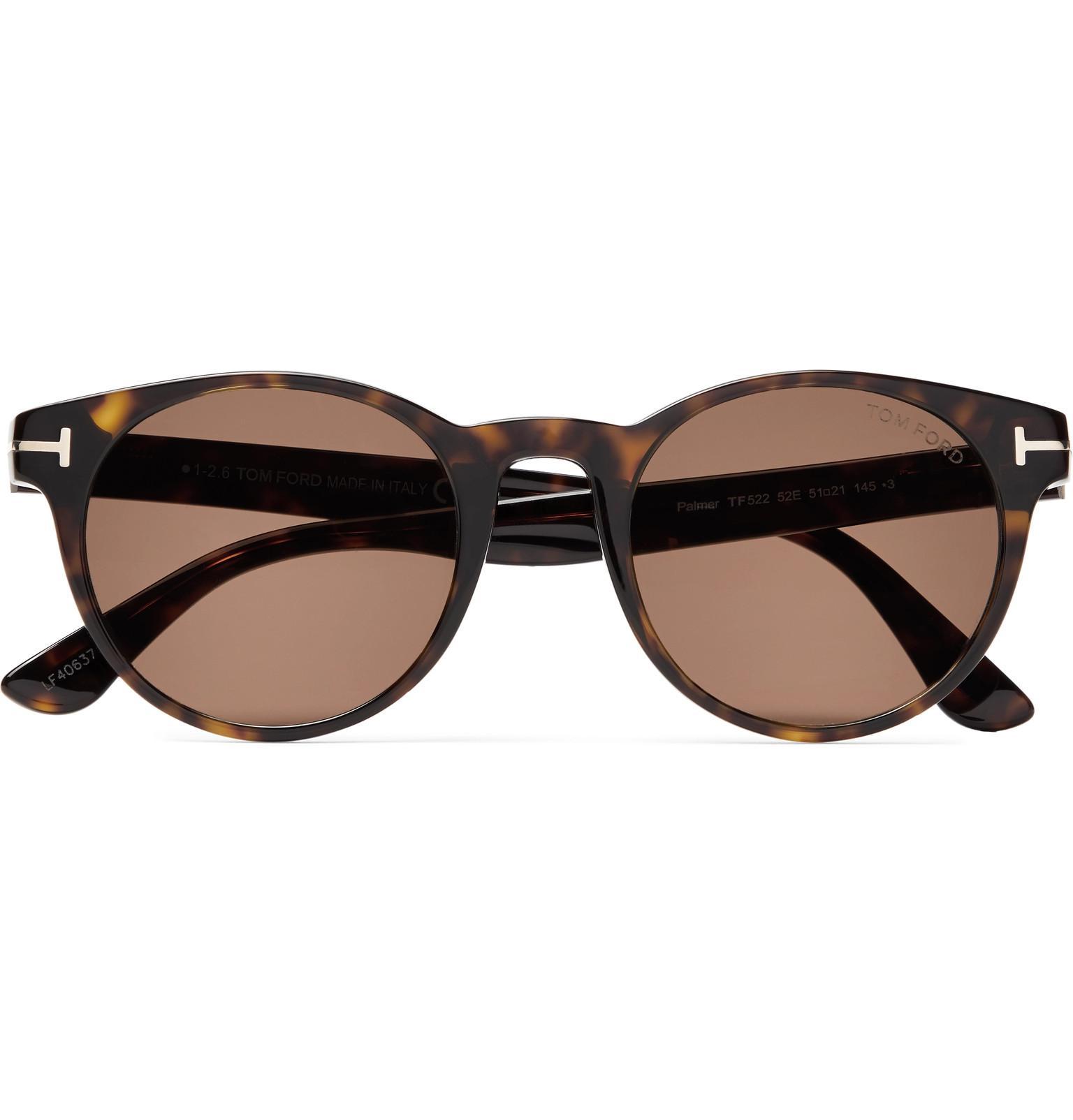 f977ba35872e8 Tom Ford. Men s Brown Palmer Round-frame Tortoiseshell Acetate Sunglasses
