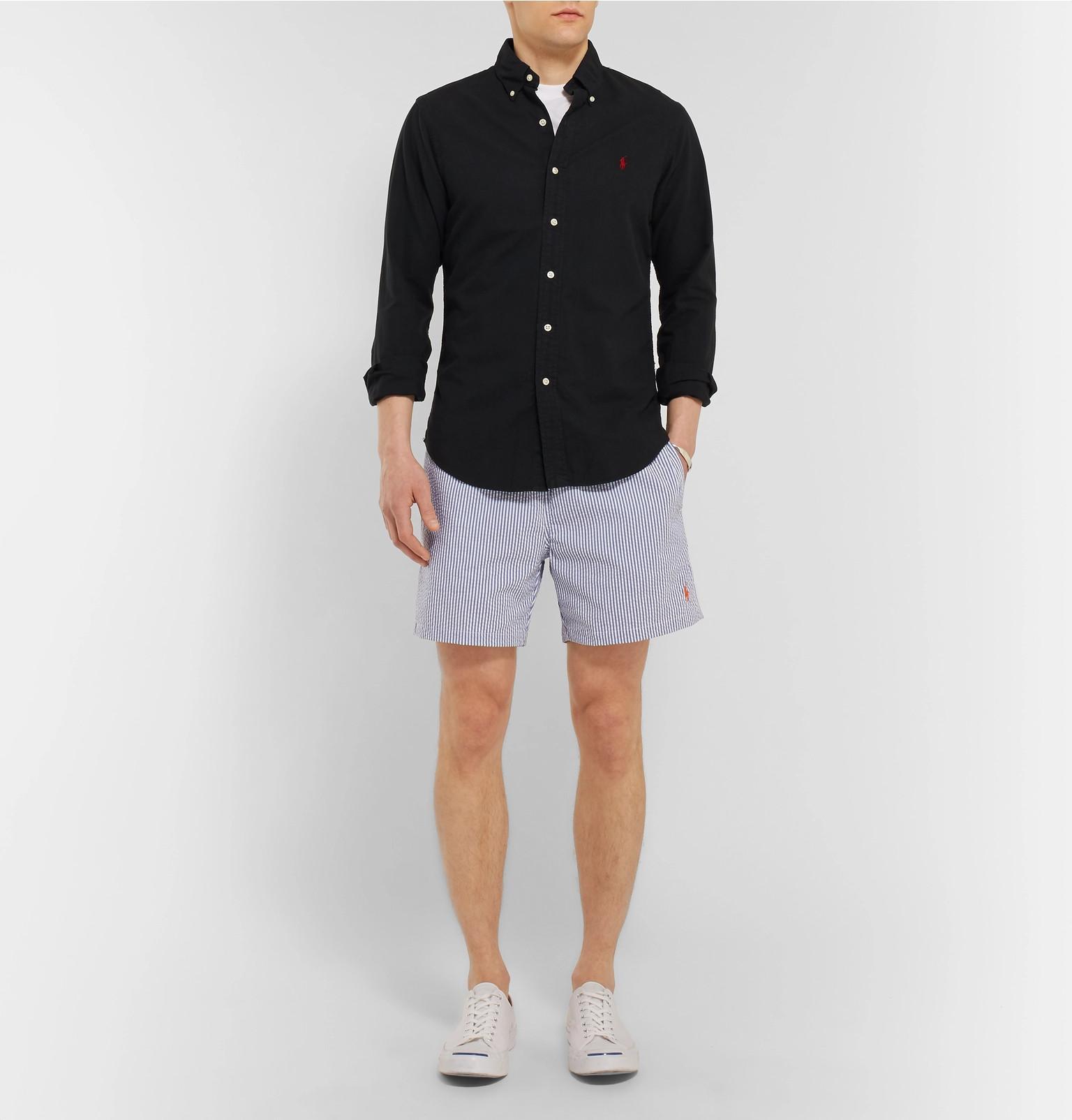 d80c3e0712 Polo Ralph Lauren Mid-length Striped Cotton-blend Seersucker Swim ...