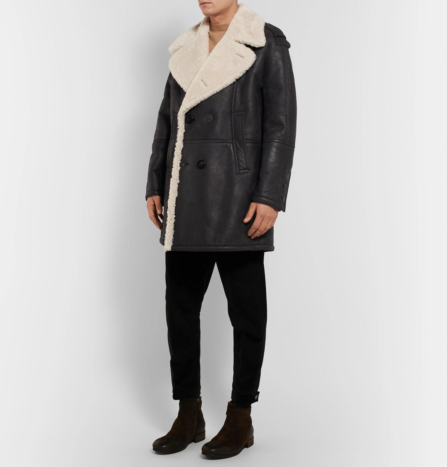 View Men Double Fullscreen Barrett Breasted For Coat Neil Lyst Shearling Black qzH0a