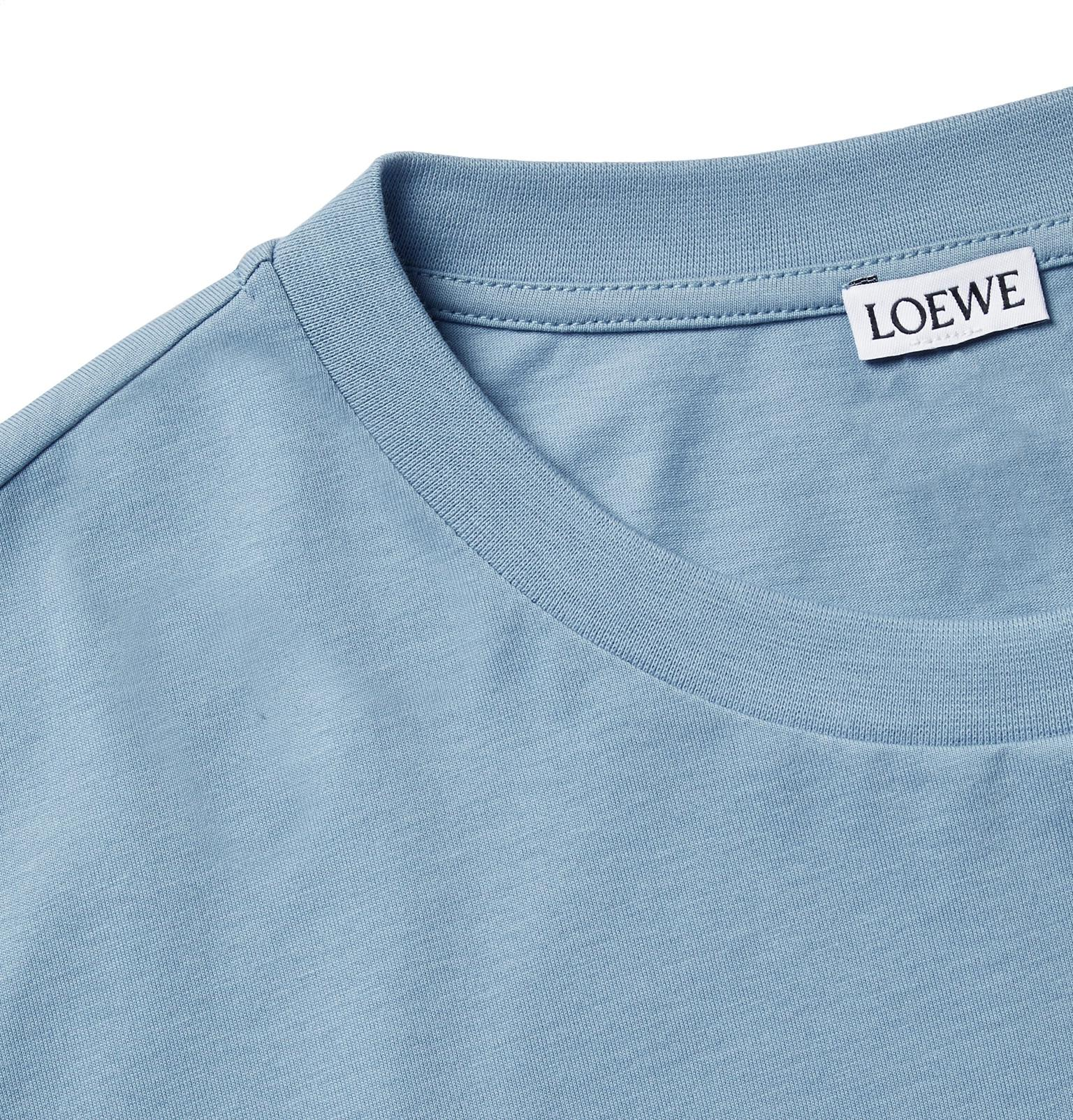 f220c09a396 Loewe Logo-embroidered Cotton-jersey T-shirt in Blue for Men - Lyst