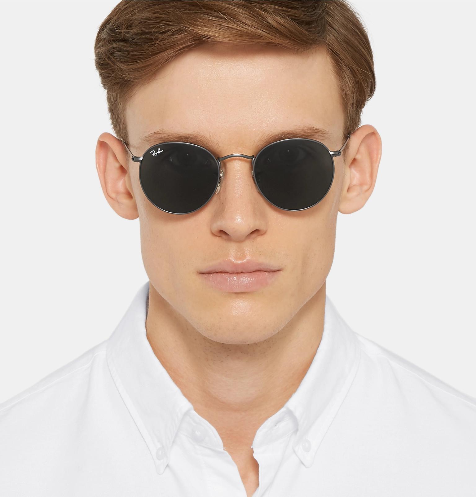 88023f74d9 Ray-Ban - Multicolor Round-frame Gunmetal-tone Sunglasses for Men - Lyst.  View fullscreen