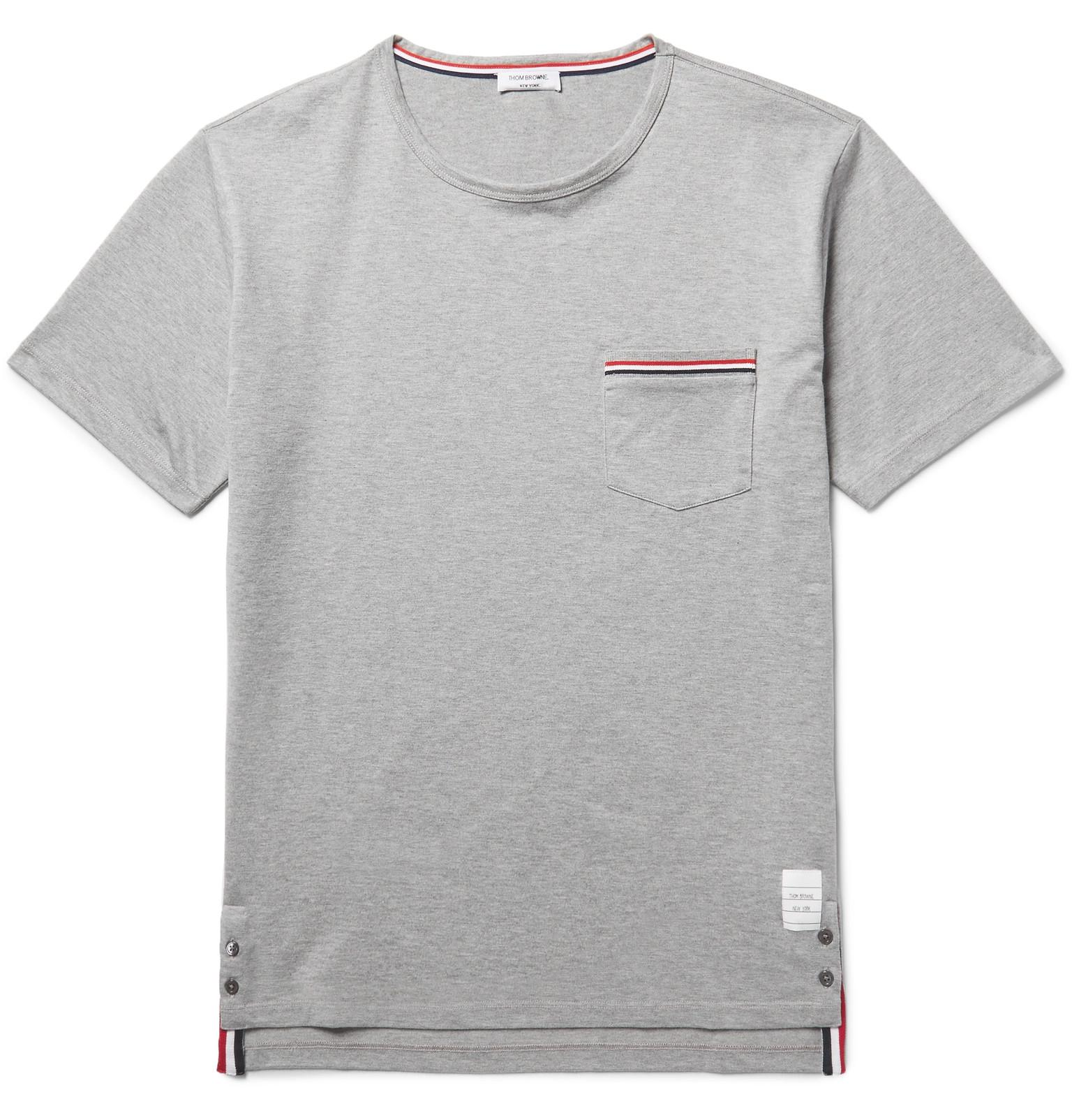 Lyst thom browne slim fit grosgrain trimmed cotton for Thom browne t shirt
