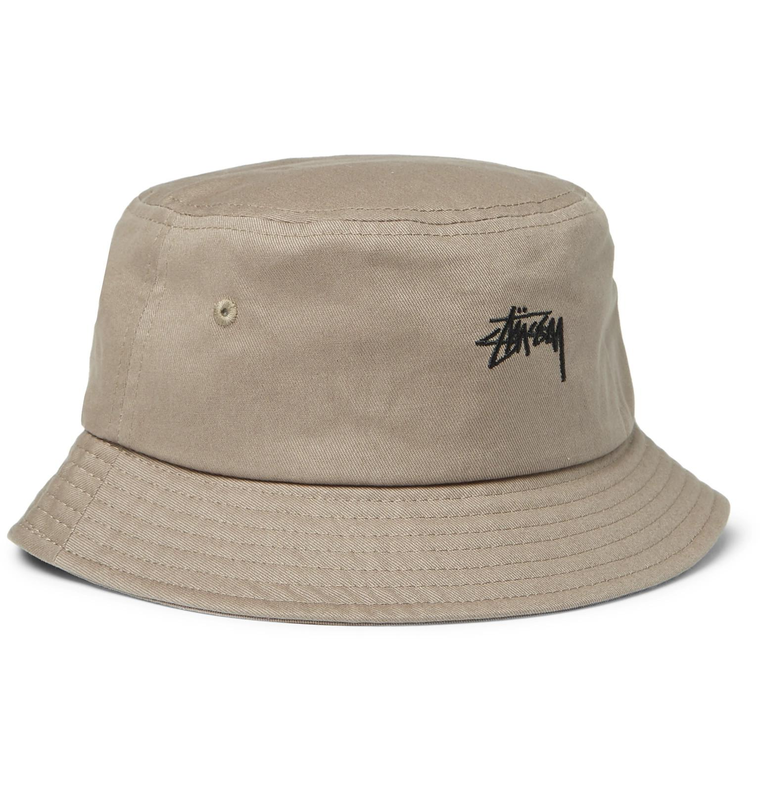 Lyst - Stussy Logo-embroidered Cotton-canvas Bucket Hat for Men 394a6eeff1ef