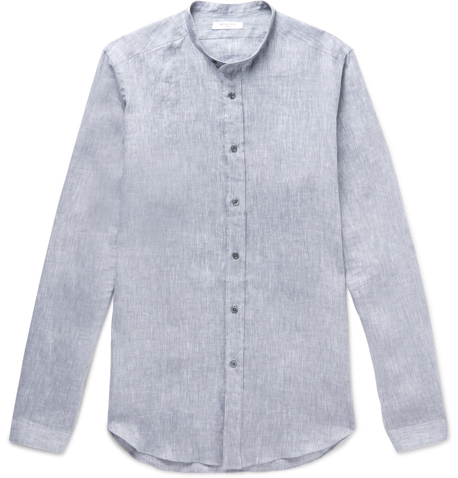 Camp-collar Mélange Linen-blend Shirt Barena Footlocker Pictures Sale Online MJ6uU