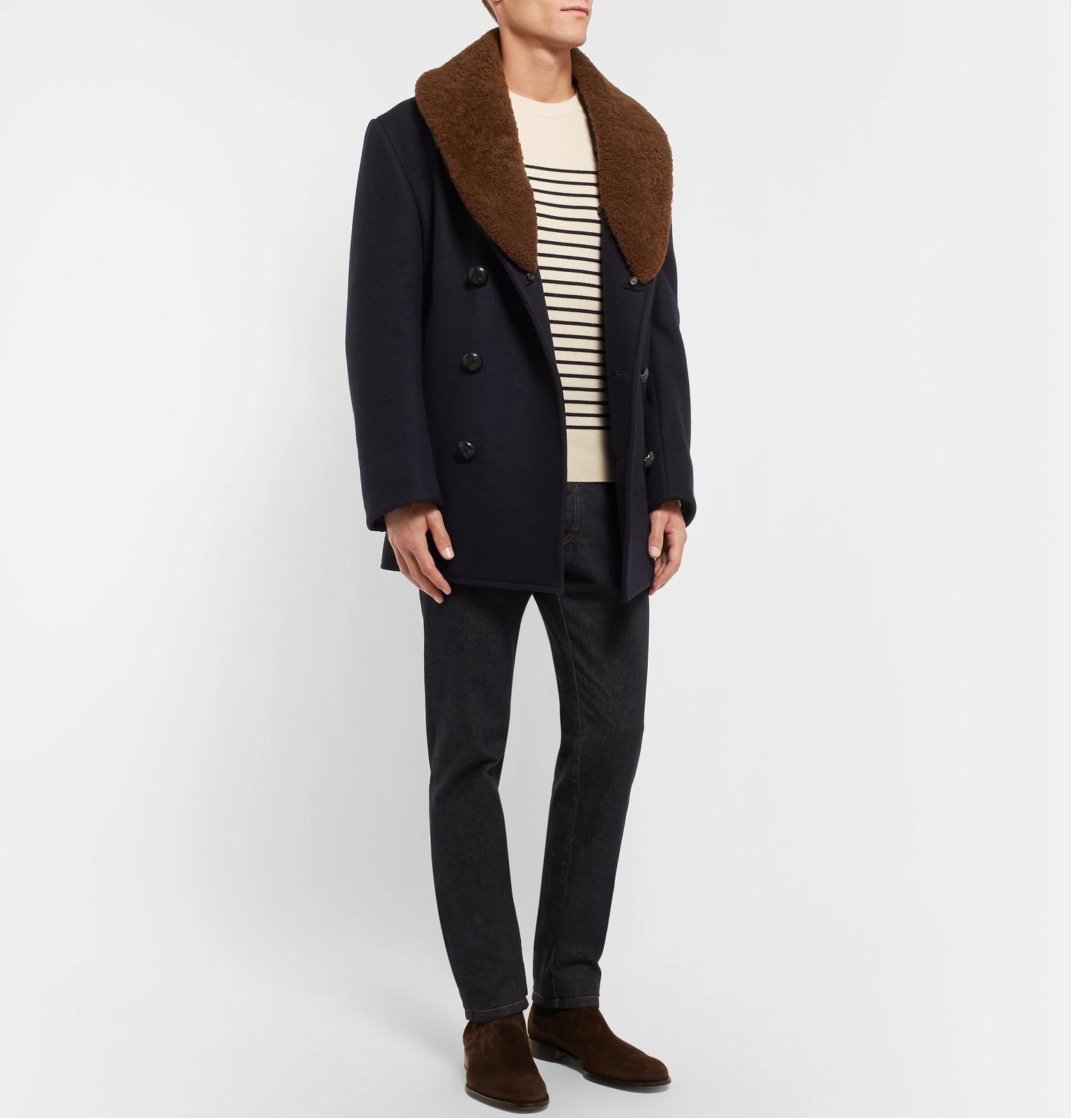 View Men Cashmere Coat Double Brioni Blue For Breasted Shearling Felt Trimmed Fullscreen npnRxzw