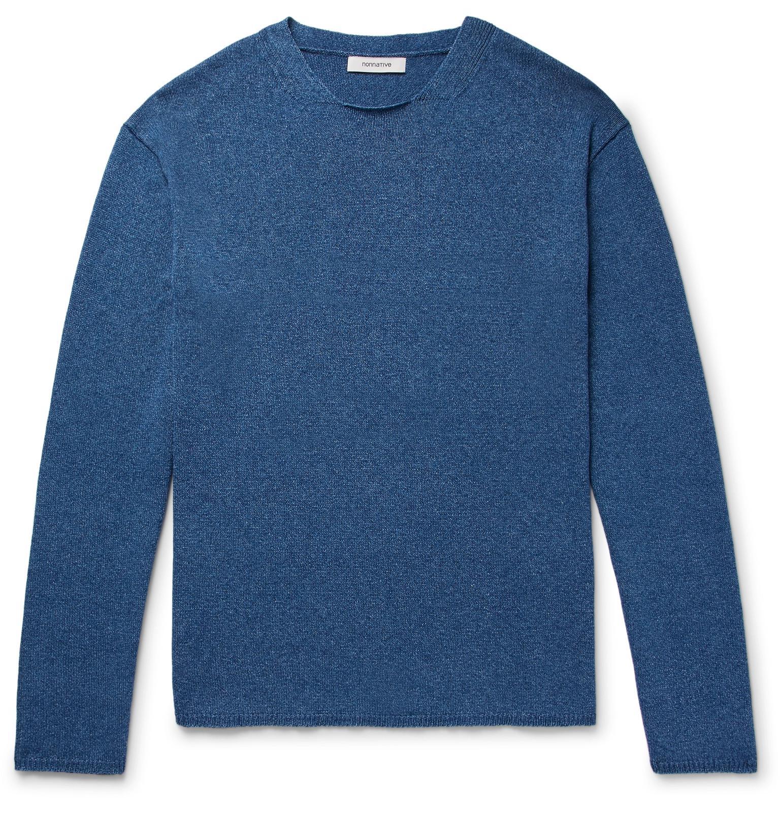 NONNATIVE Indigo-dyed Mélange Cotton Sweater - Blue OtRdD90C2