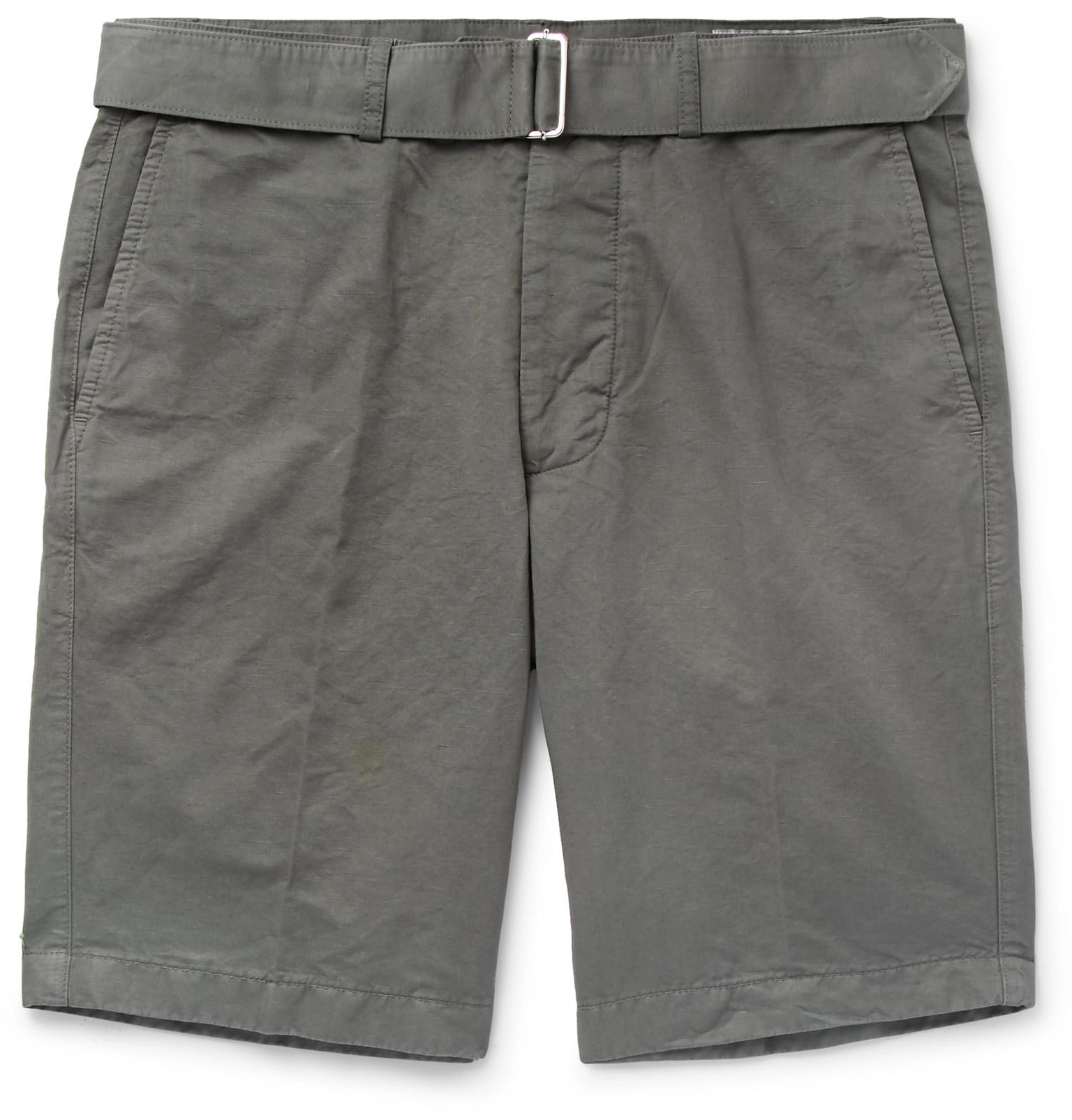 Mens Linen-Cotton Cuffed Shorts Officine Generale Outlet Fake Looking For Cheap Price Enjoy Cheap Online For Sale Y8C7nwPh