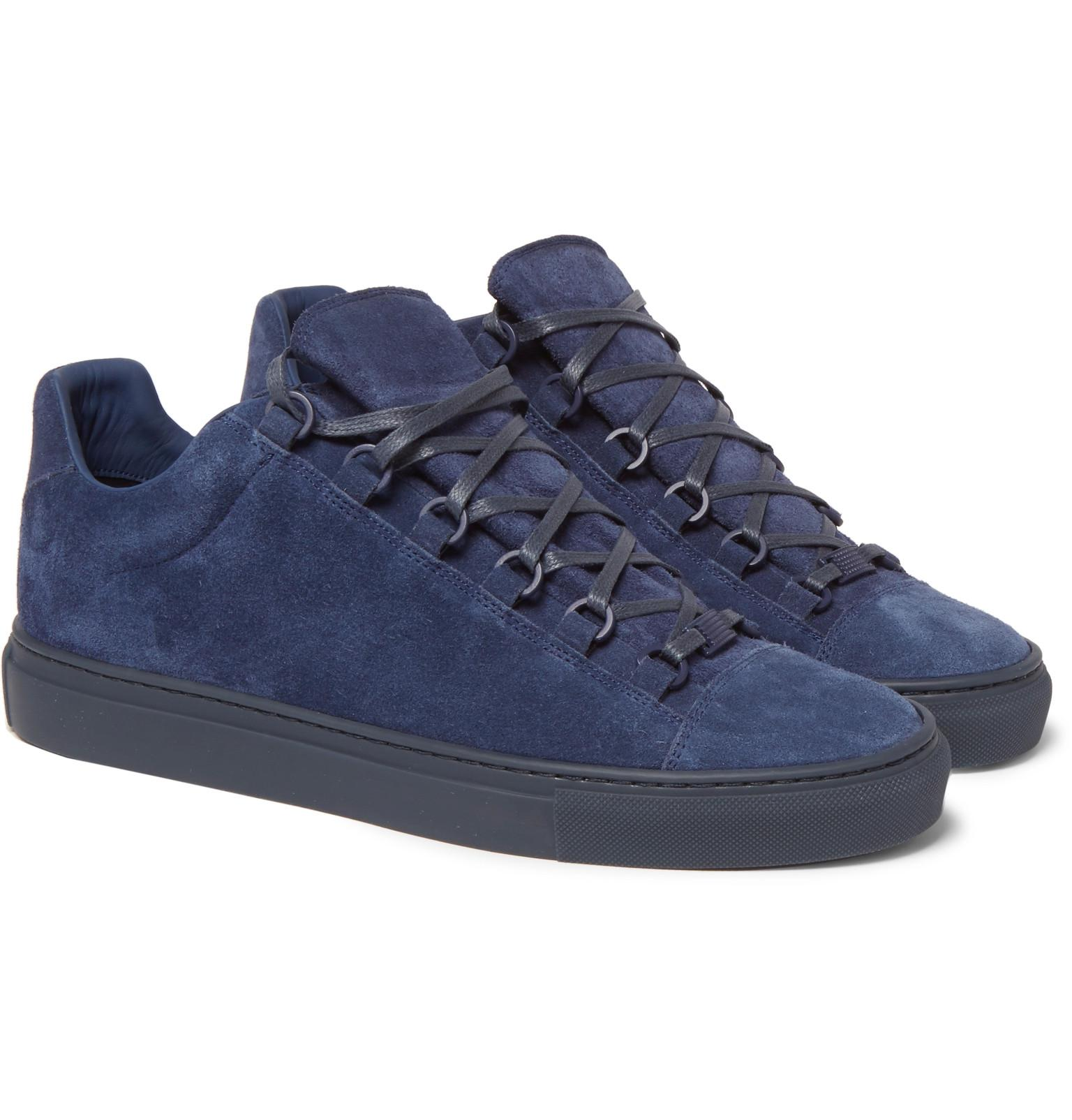 Lyst - Balenciaga Arena Suede Sneakers in Blue for Men ae3b662eb