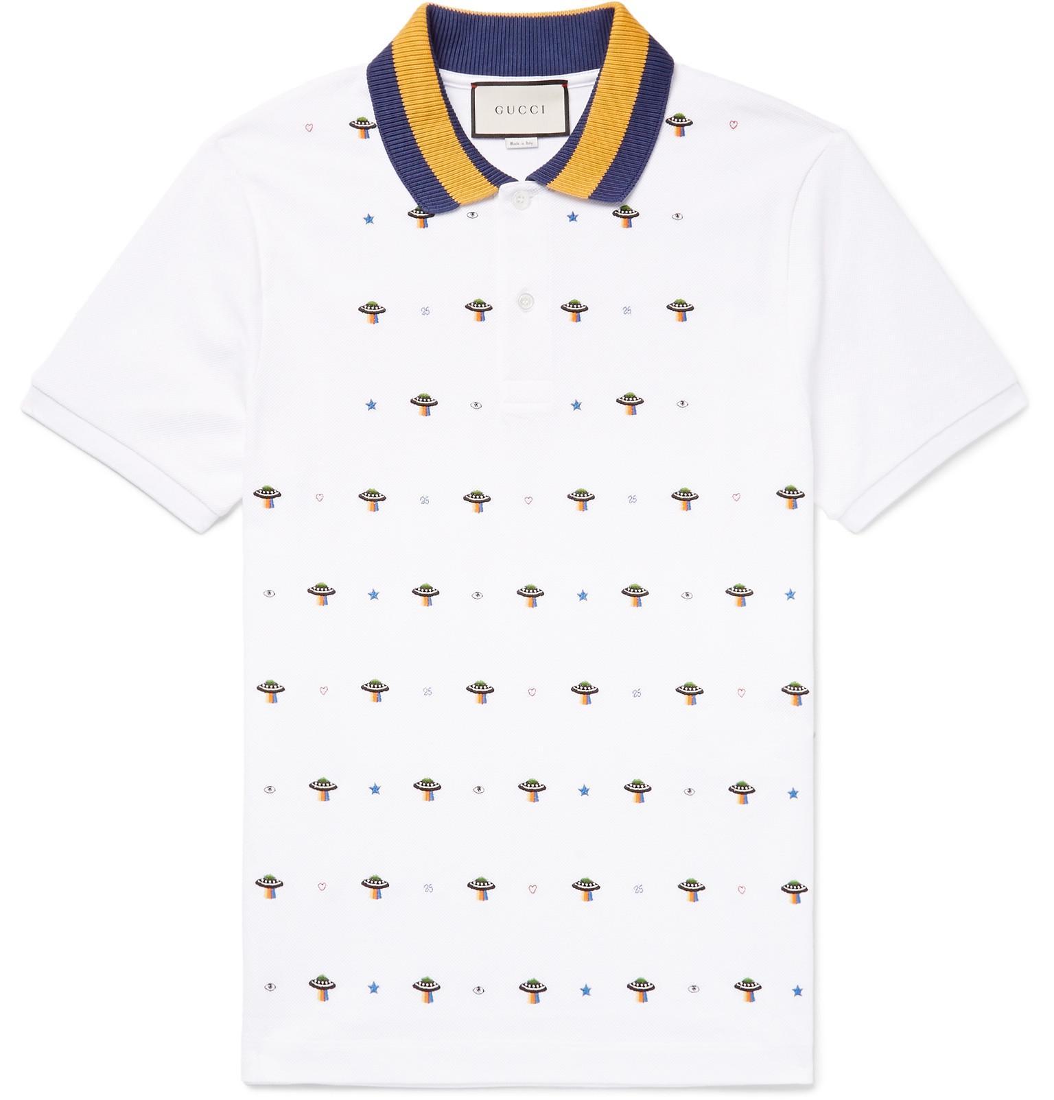 dfa036efb Gucci - White Slim-fit Ufo-embroidered Stretch-cotton Piqué Polo Shirt for.  View fullscreen