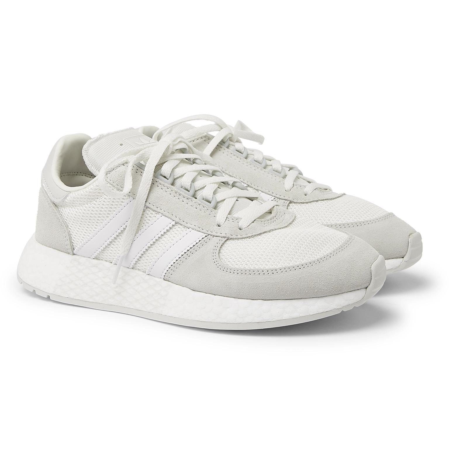 1d074e07e7dc adidas Originals Marathon Boost Suede-trimmed Leather And Mesh ...