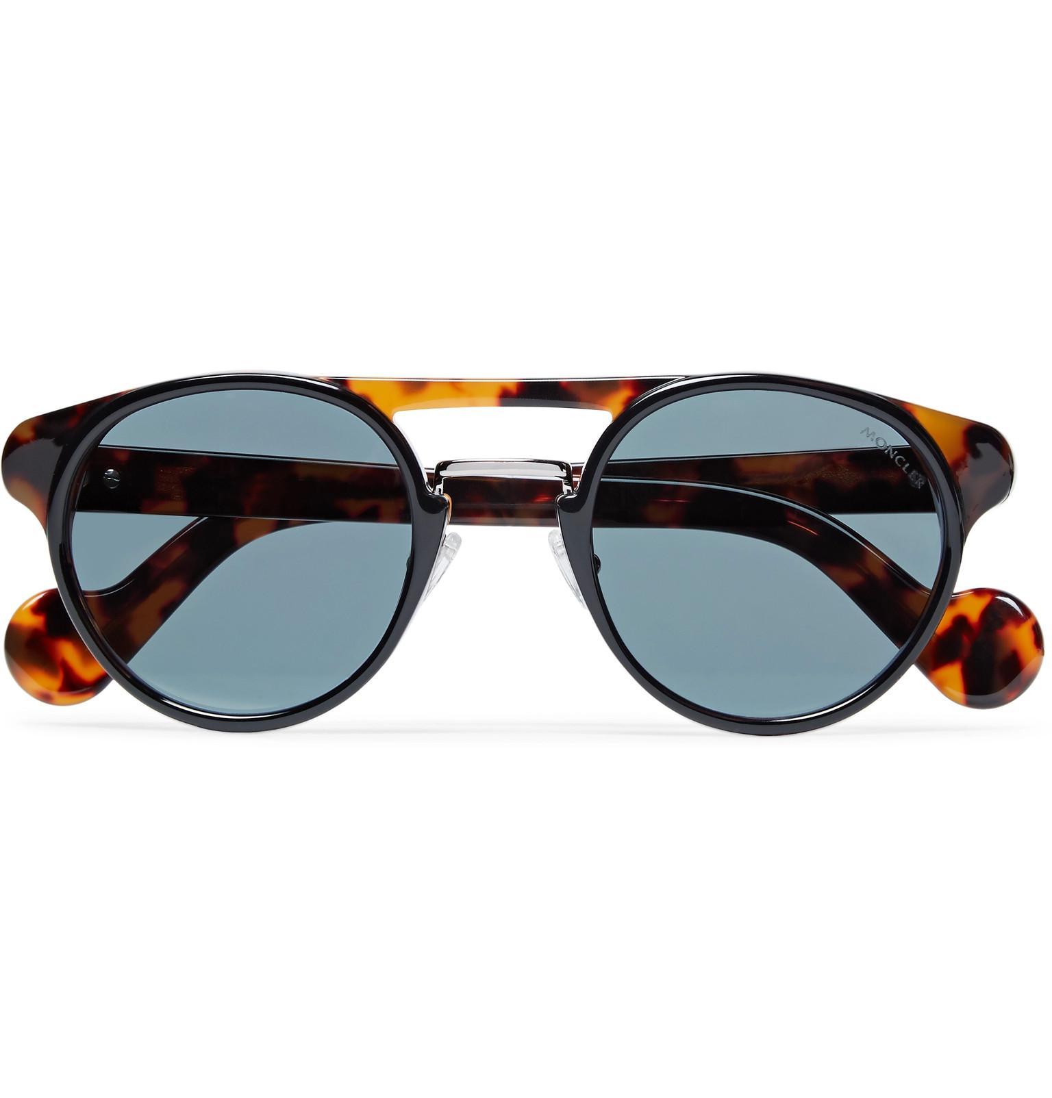 Moncler Round-frame Gold-tone And Tortoiseshell Acetate Sunglasses - Gold HQ4EvTz7