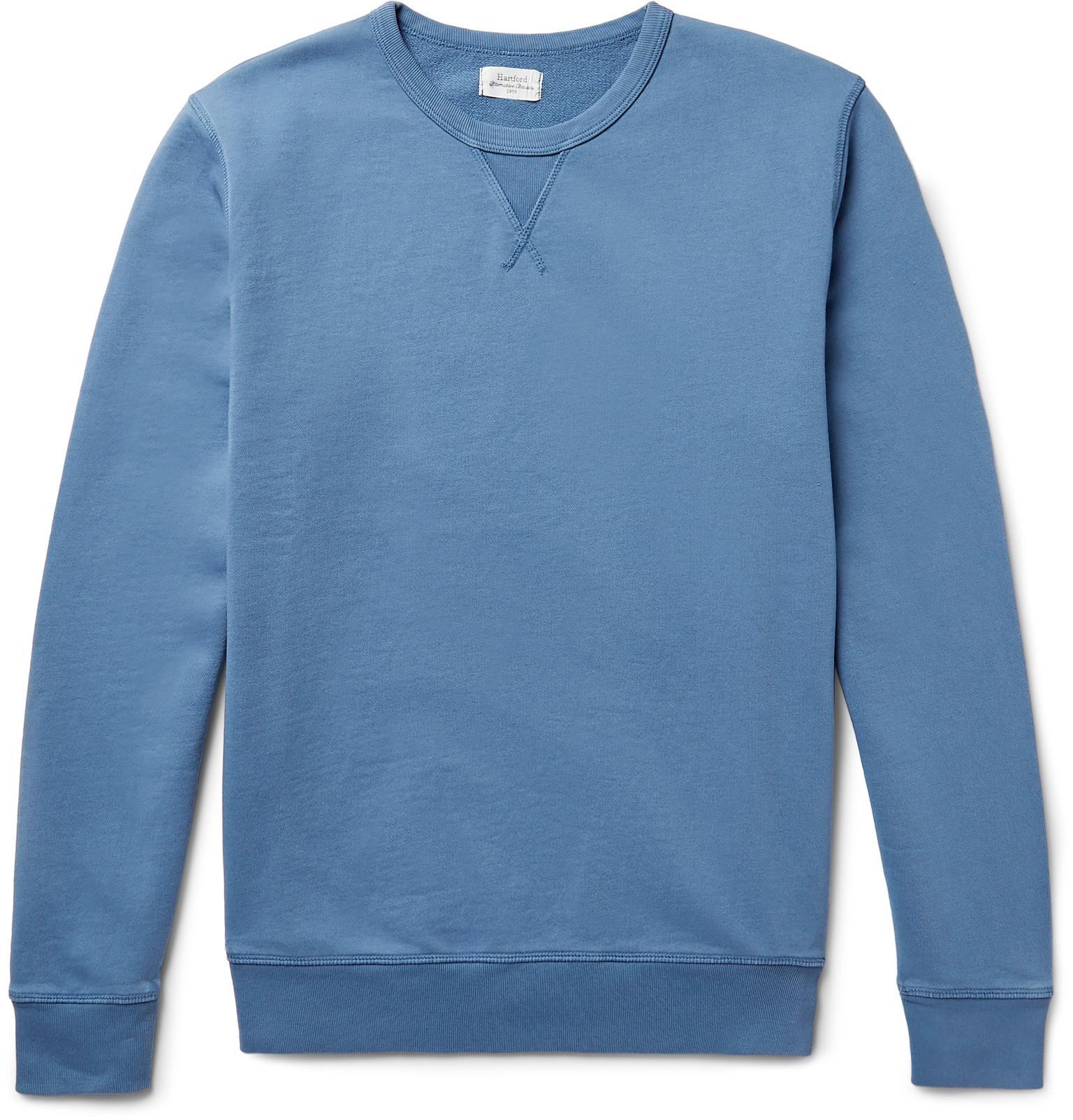 HARTFORD Loopback Cotton-jersey Half-zip Sweatshirt - Storm blue LWAia