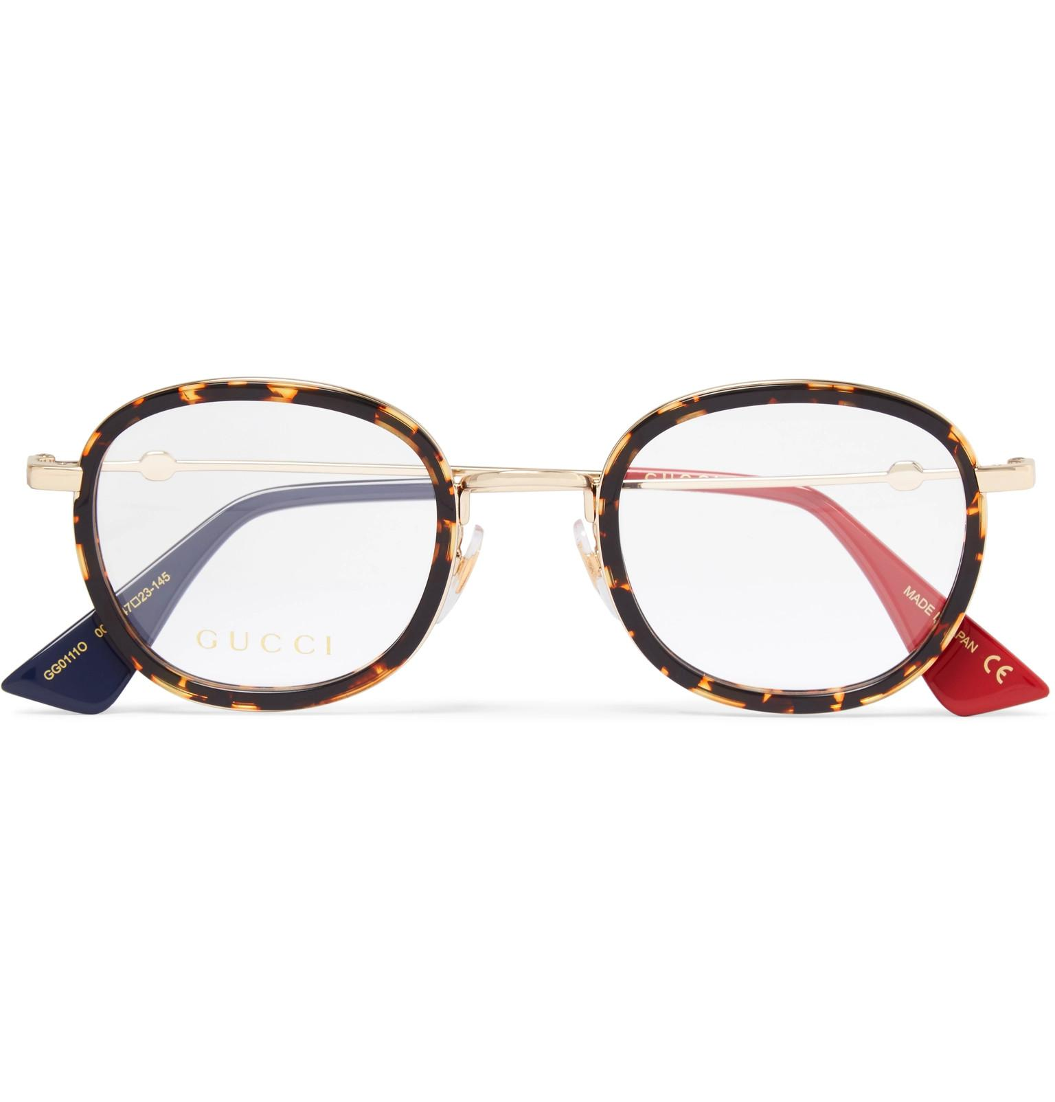 8020f3faf5 Lyst - Gucci Round-frame Acetate And Gold-tone Optical Glasses in ...