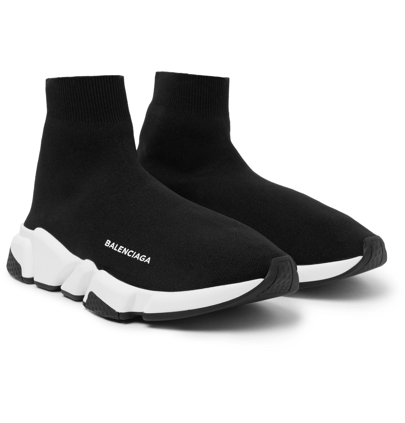 528951f1256d Balenciaga - Black Speed Sock Stretch-knit Slip-on Sneakers for Men - Lyst.  View fullscreen