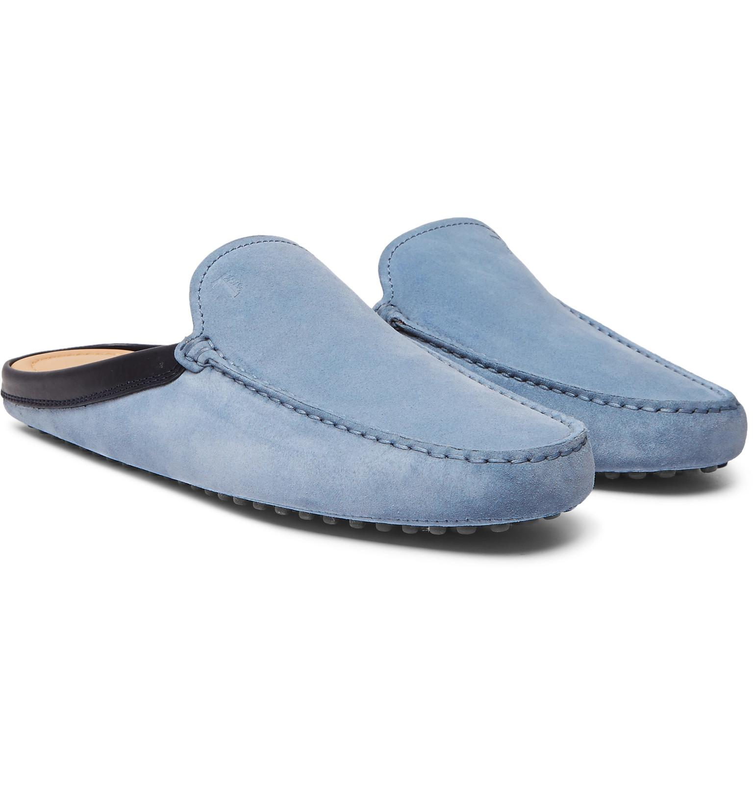 599308e6ef0 Tod s Leather-trimmed Suede Backless Loafers in Blue for Men - Lyst