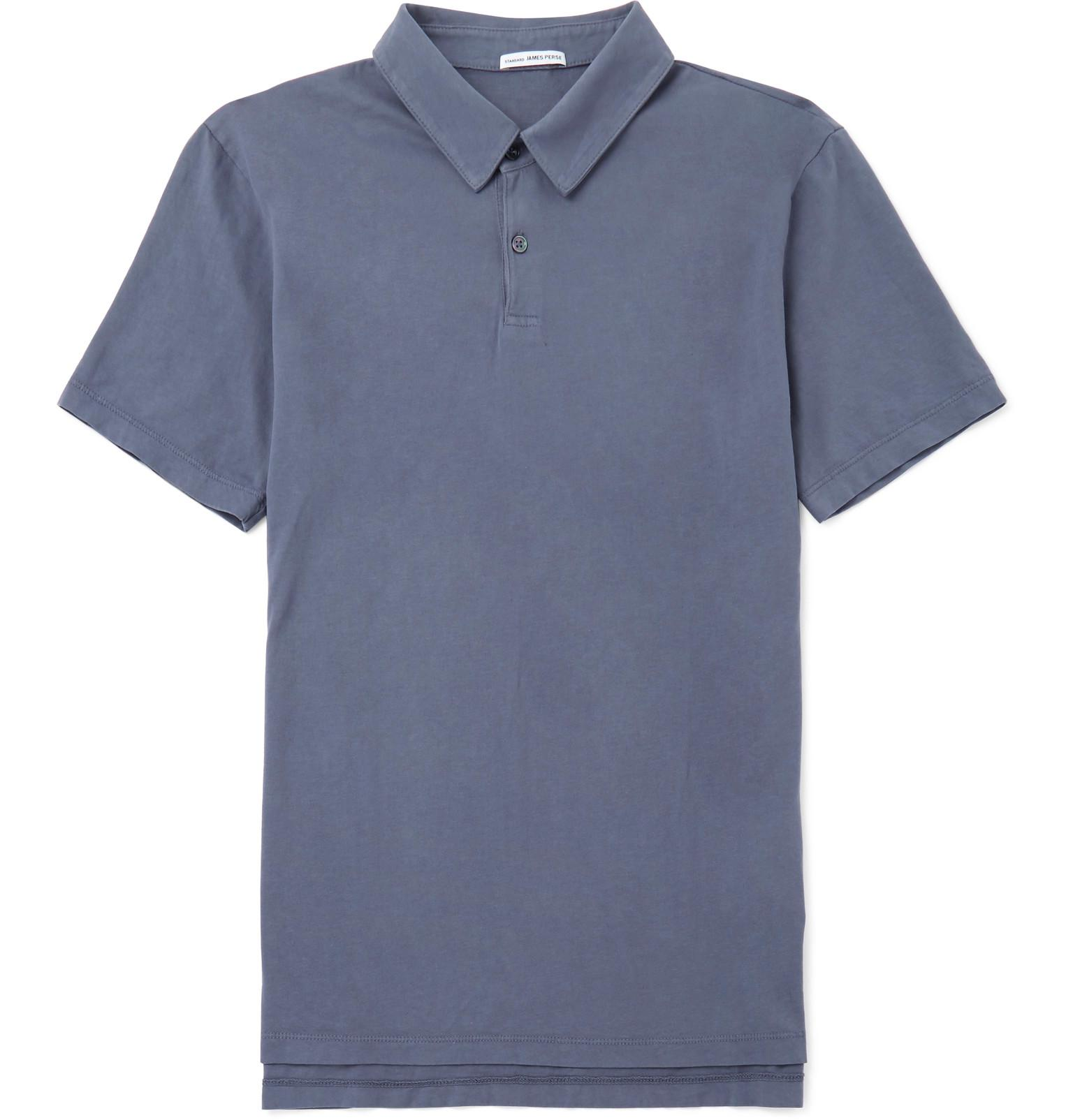 James perse supima cotton jersey polo shirt blue in for Supima cotton dress shirts