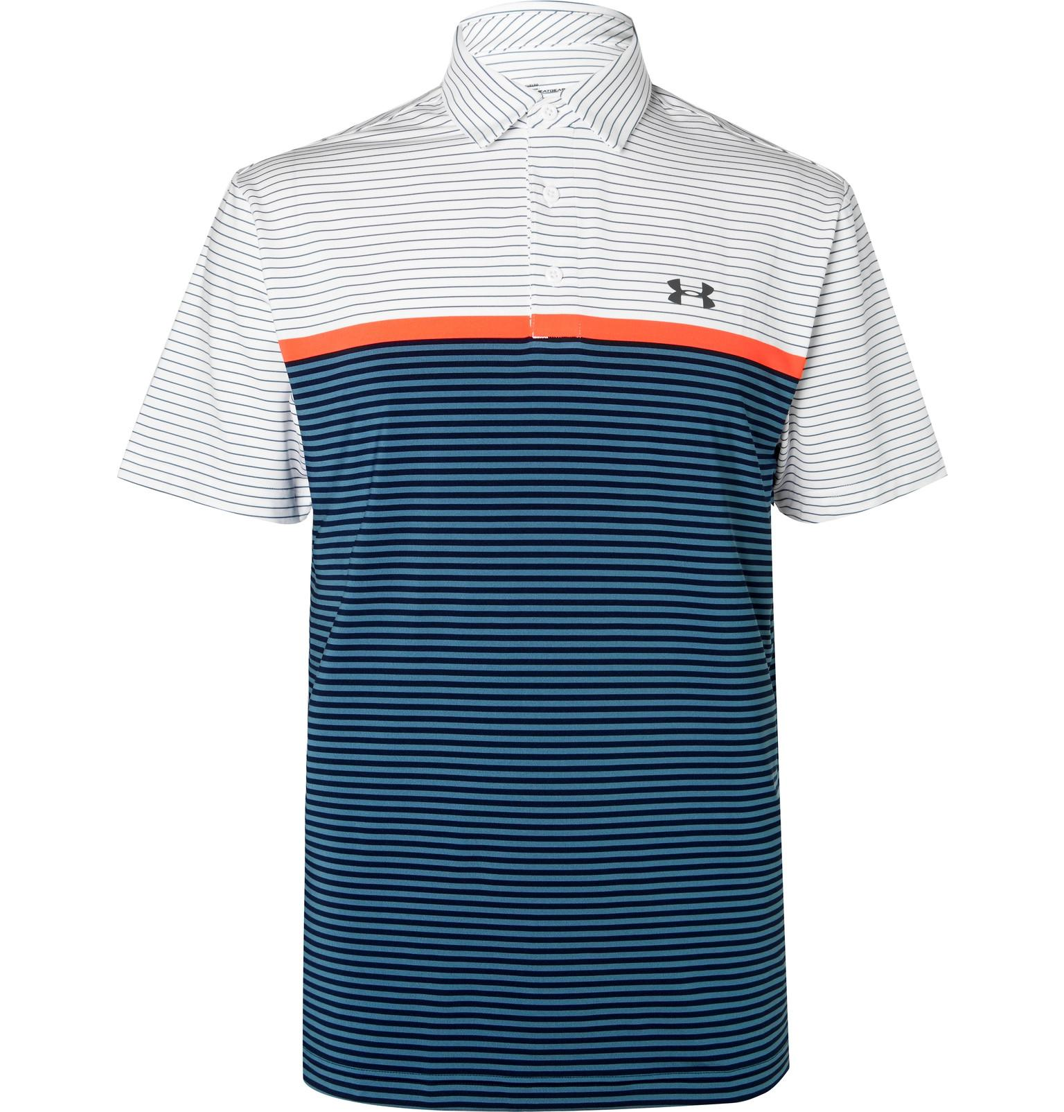 e96d2e857544be Lyst - Under Armour Playoff Striped Heatgear Golf Polo Shirt in ...
