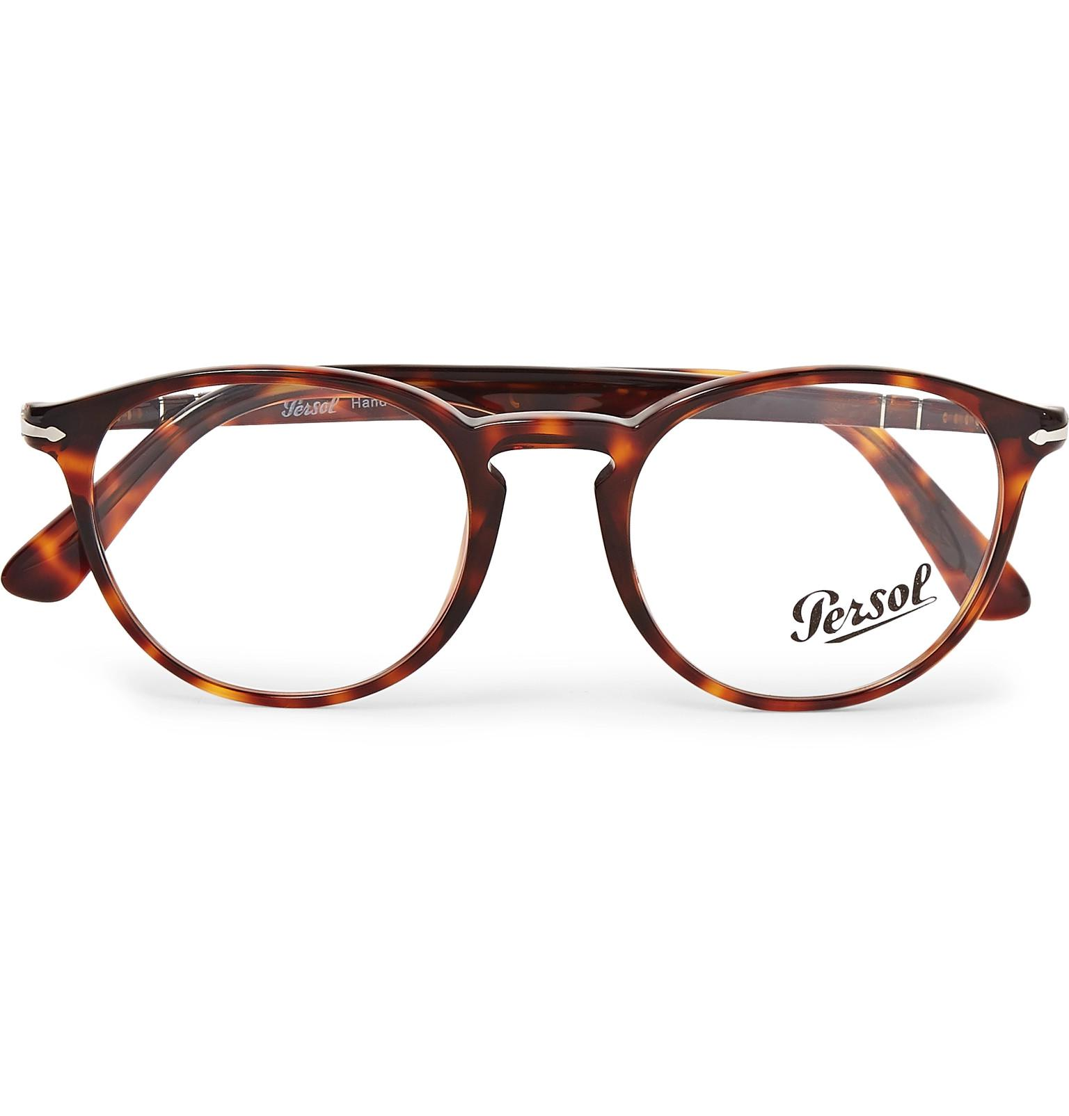 e05f12deb47 Lyst - Persol Round-frame Tortoiseshell Acetate Optical Glasses in ...