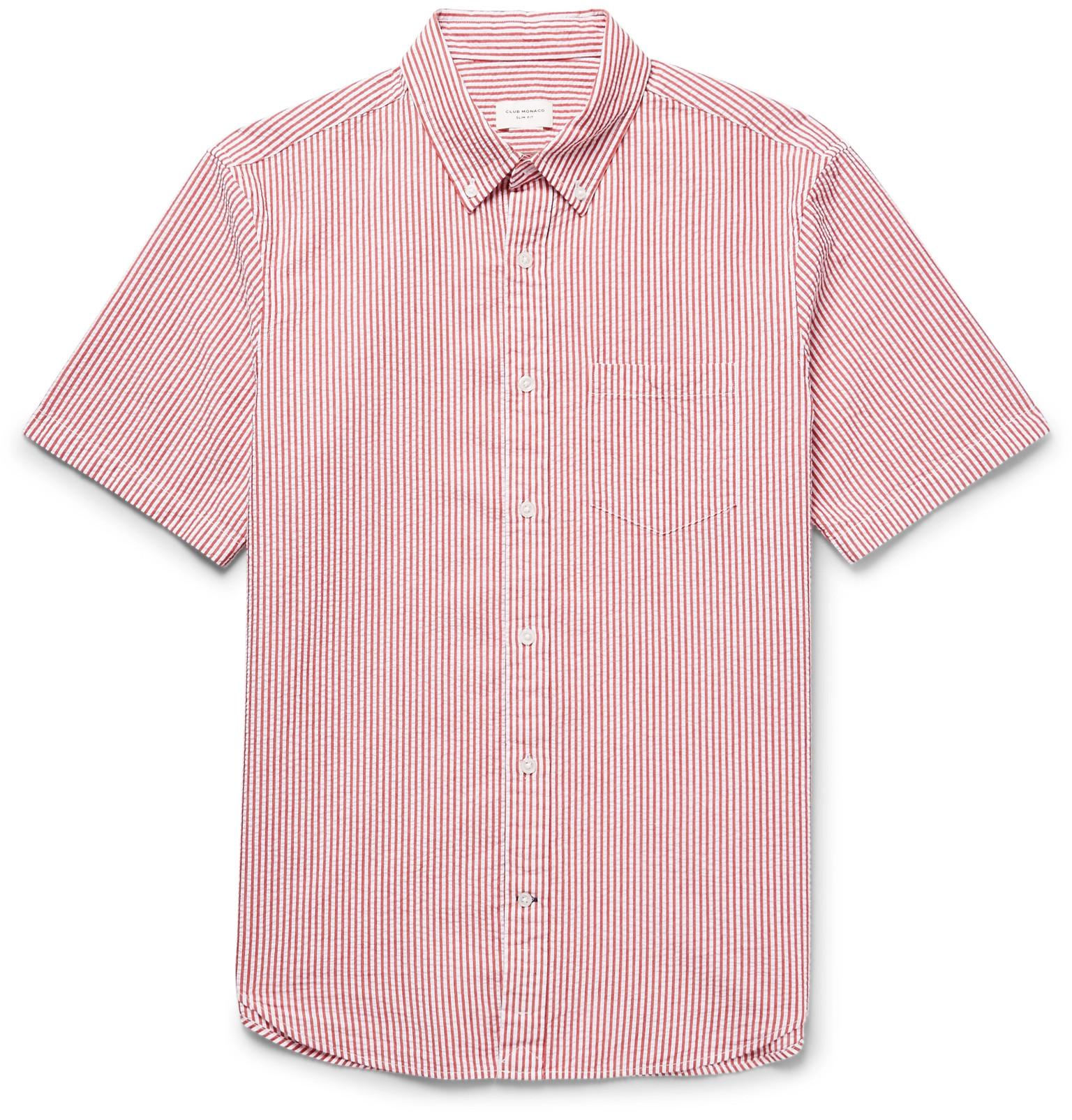feadb543f24 Lyst - Club Monaco Slim-fit Button-down Collar Striped Cotton ...