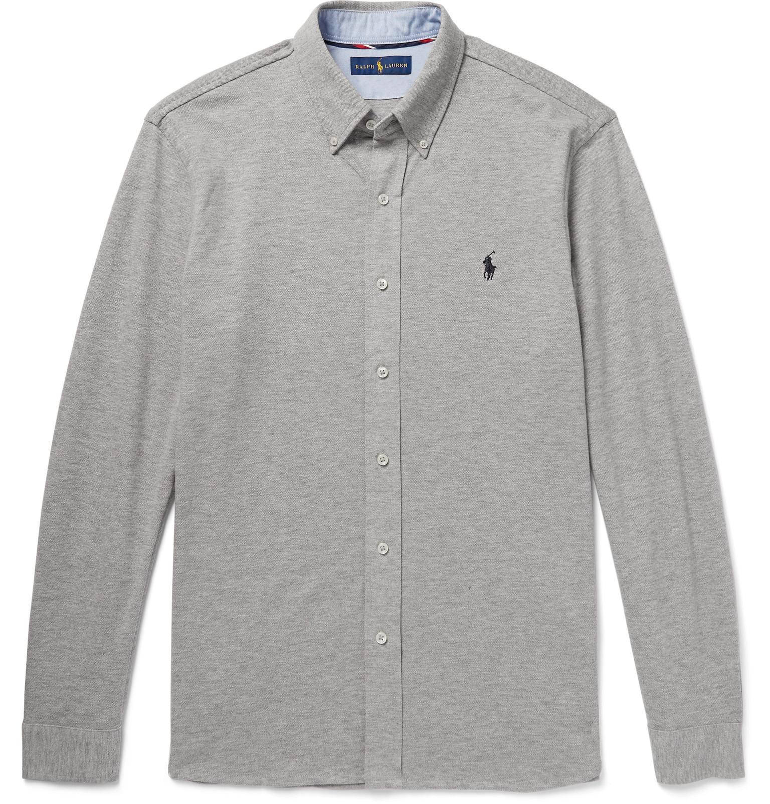 Ralph Lauren Slim-fit Button-down Collar Mélange Cotton Oxford Shirt - Gray PjHXfrIxZo